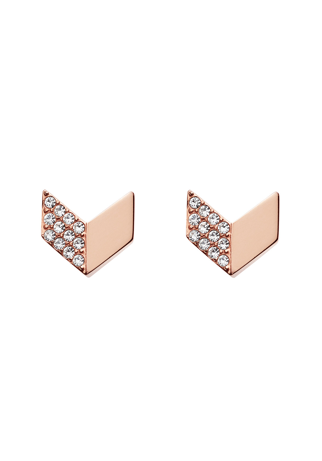 Fossil Glitz Chevron Stud Earrings, Rose Gold