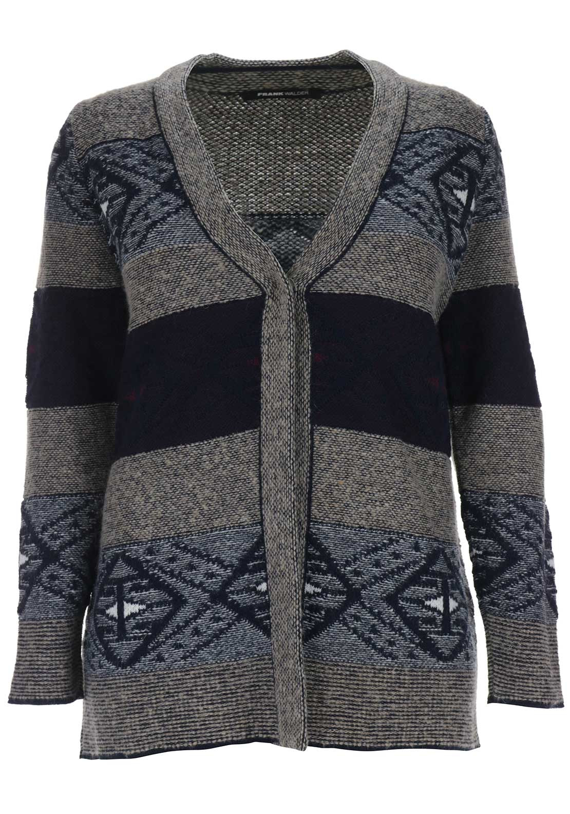 Frank Walder Wool Blend Print Cardigan, Multi-Coloured