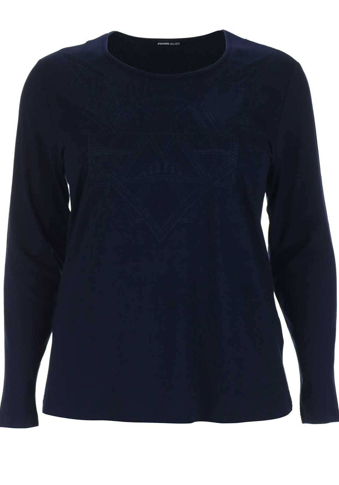 Frank Walder Embroidered Print Top, Navy