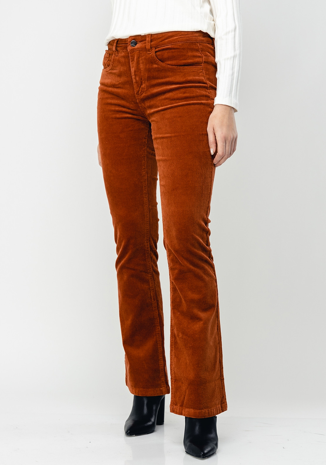 new collection new appearance online retailer Fransa Flared Leg Corduroy Trousers, Rust
