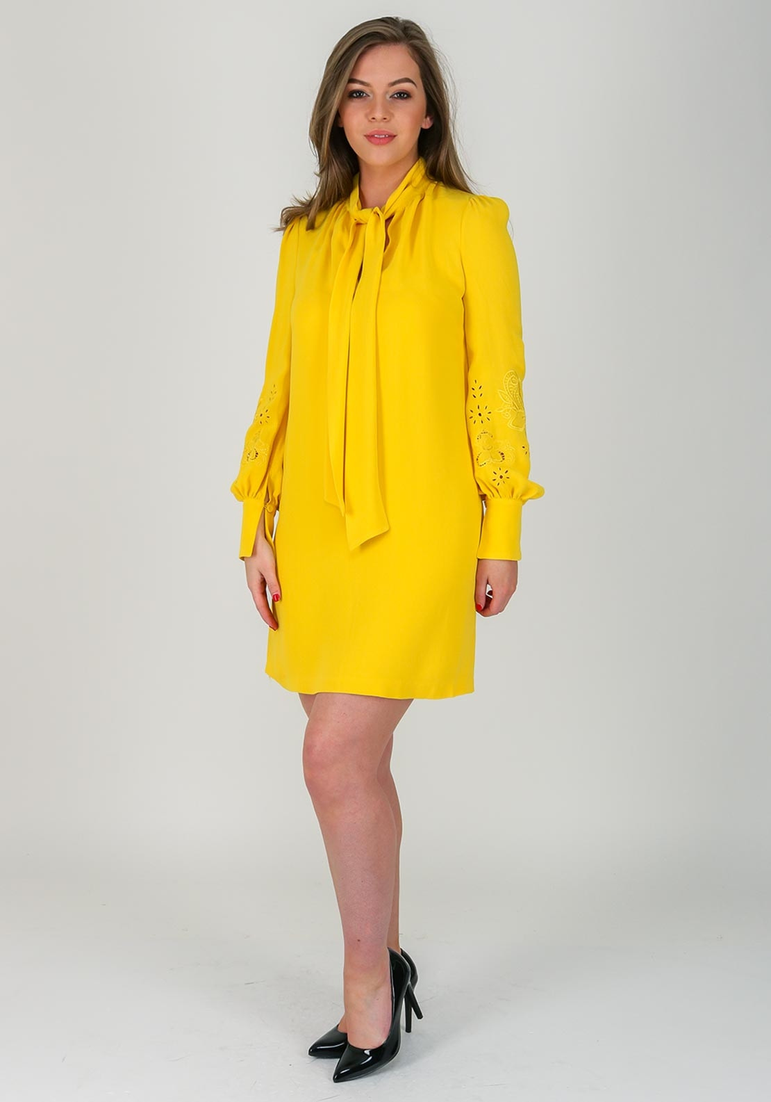 3961025fec0c French Connection Arimi Pussybow Dress, Yellow | McElhinneys
