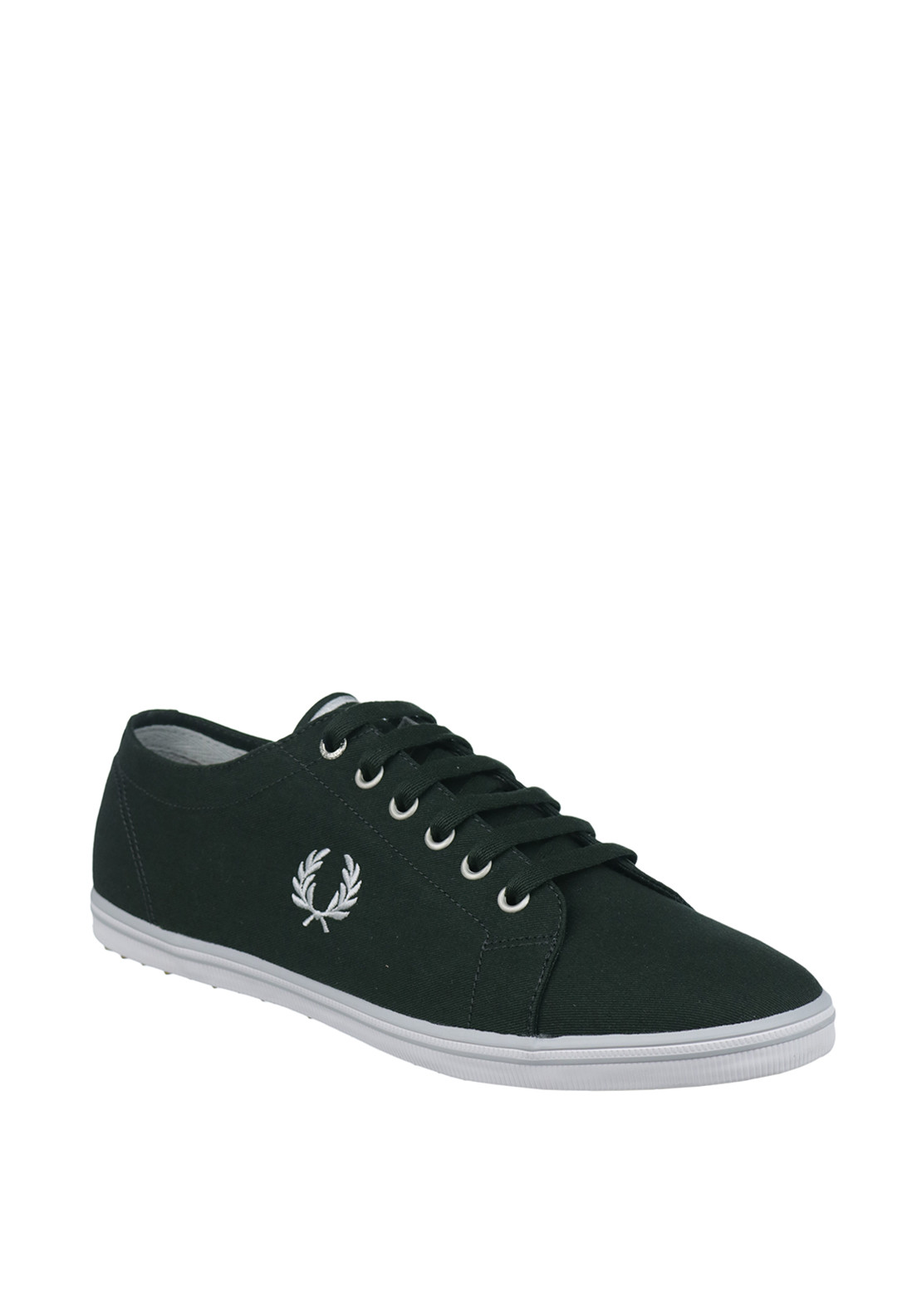 Fred Perry Kingston Twill Canvas Trainers, British Racing Green