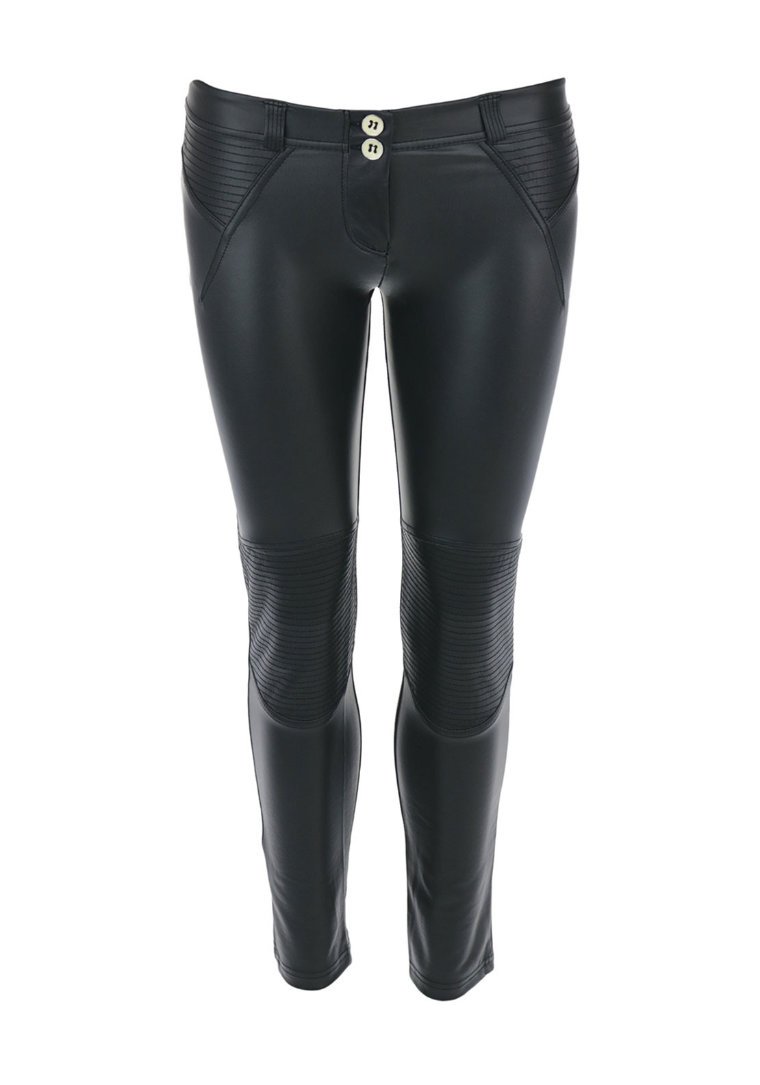 Freddy WR.UP® Faux Leather 7/8 Trousers, Black