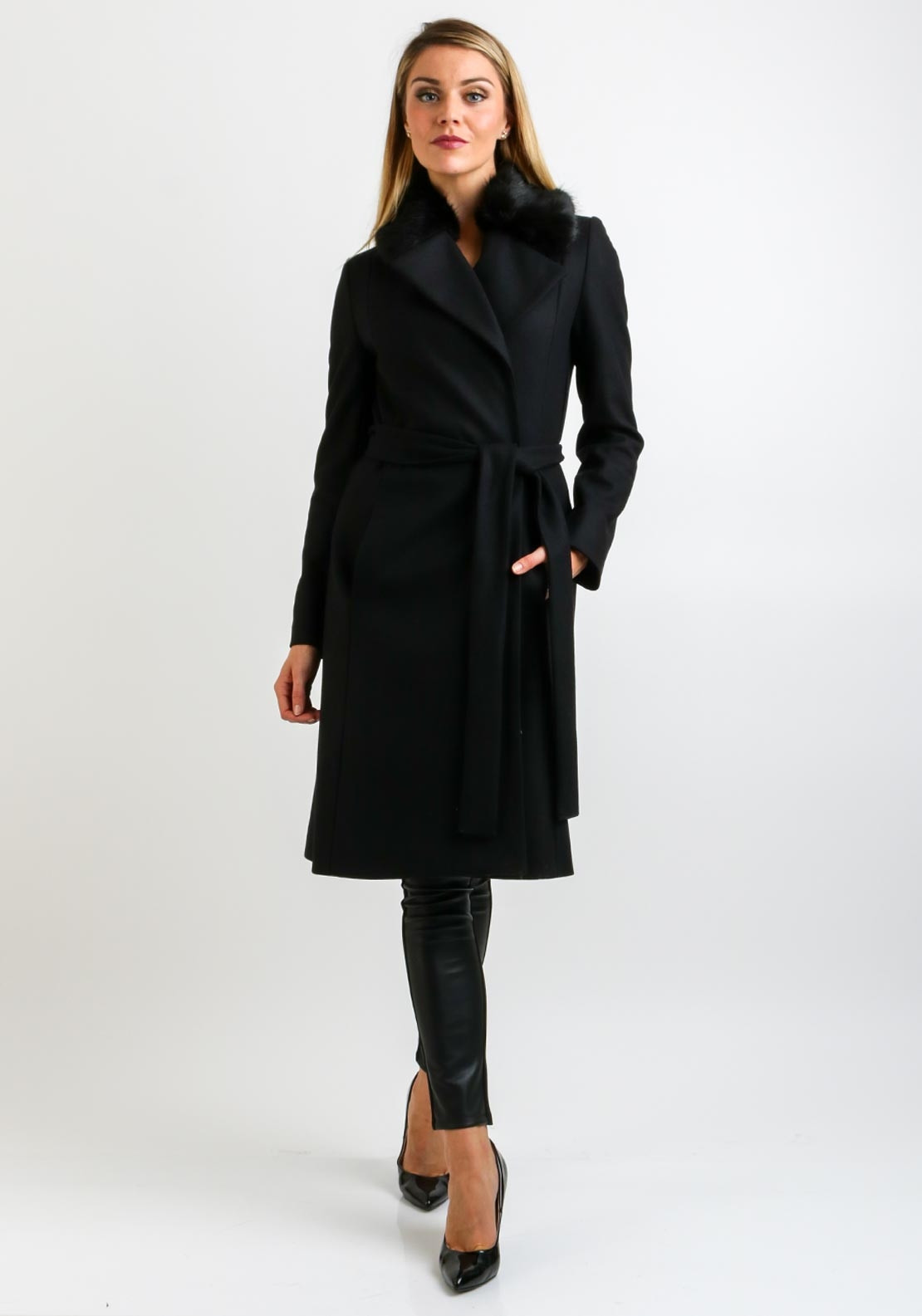 ef0f3448aed68f French Connection Wool Wrap Coat, Black | McElhinneys