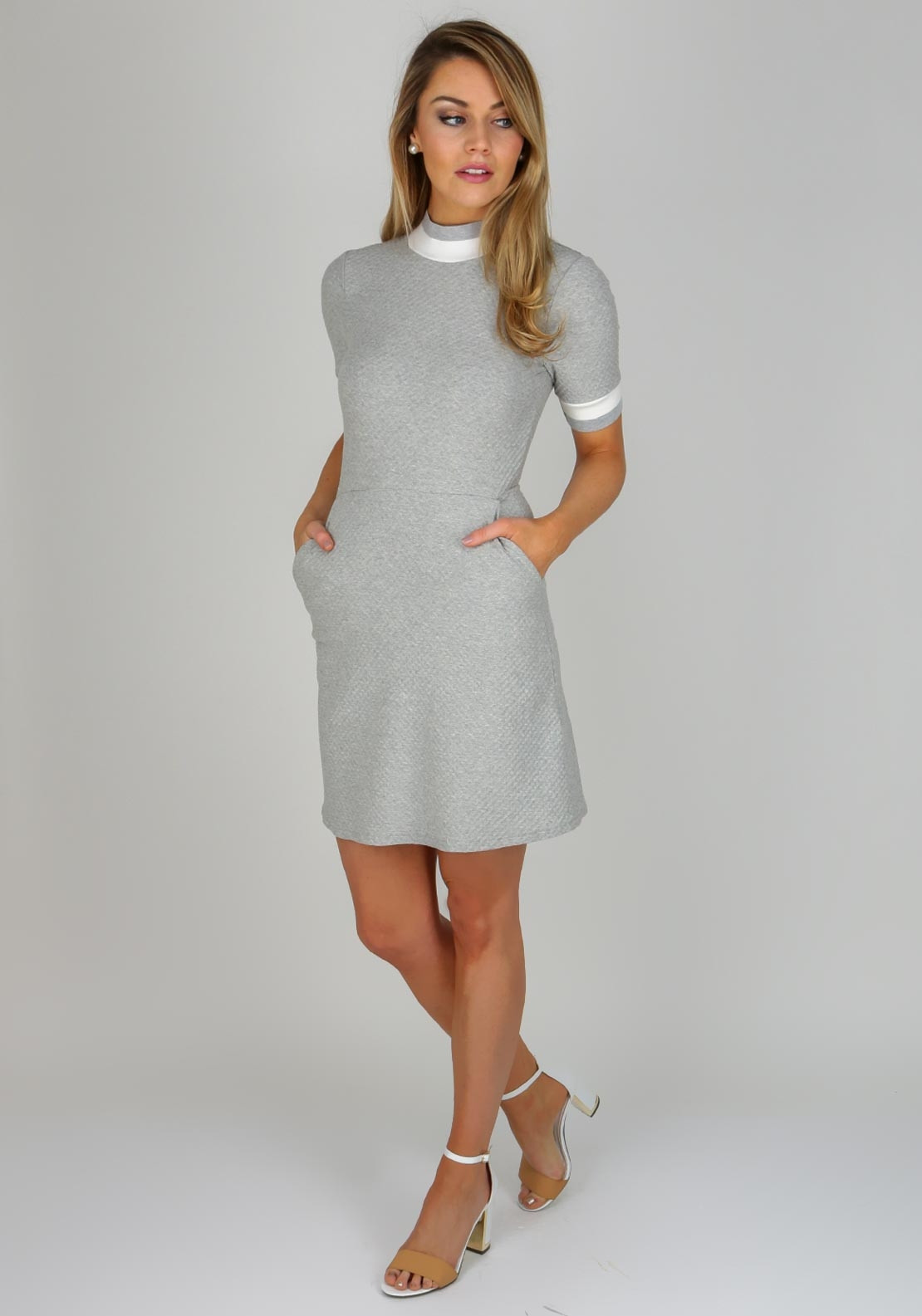 French Connection Embossed Jersey Dress Grey Mcelhinneys