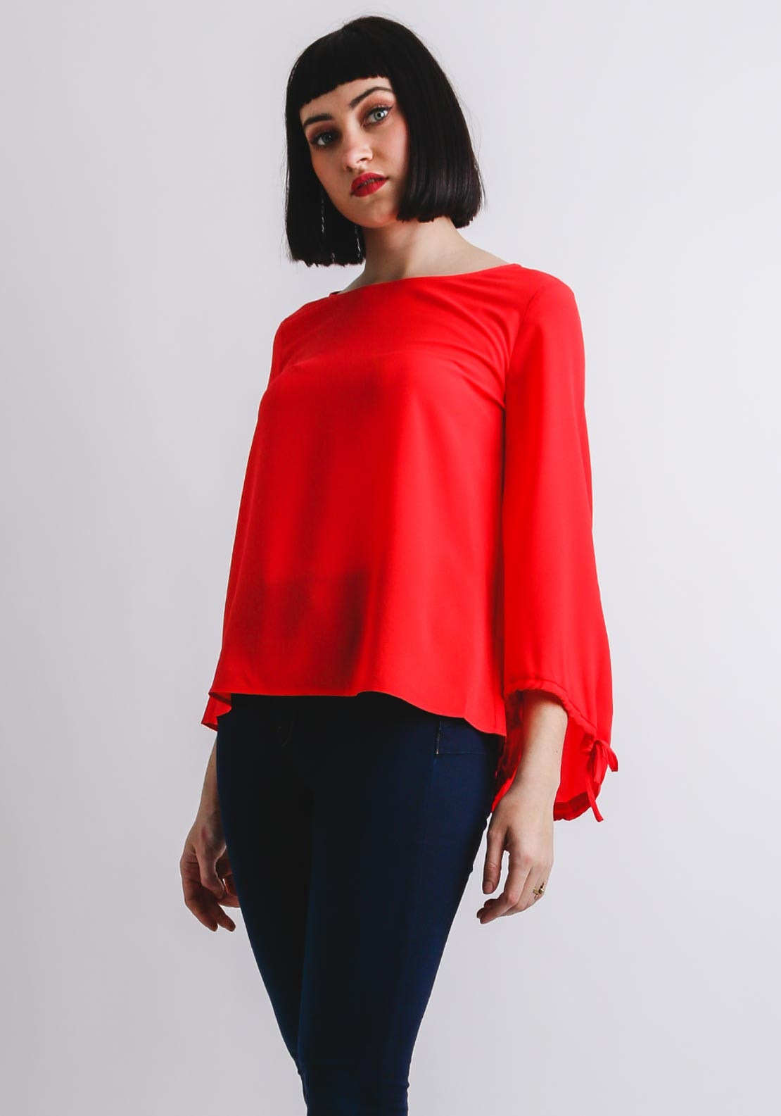 5764e1ef0a9edd French Connection Crepe Puff Sleeve Blouse, Coral | McElhinneys