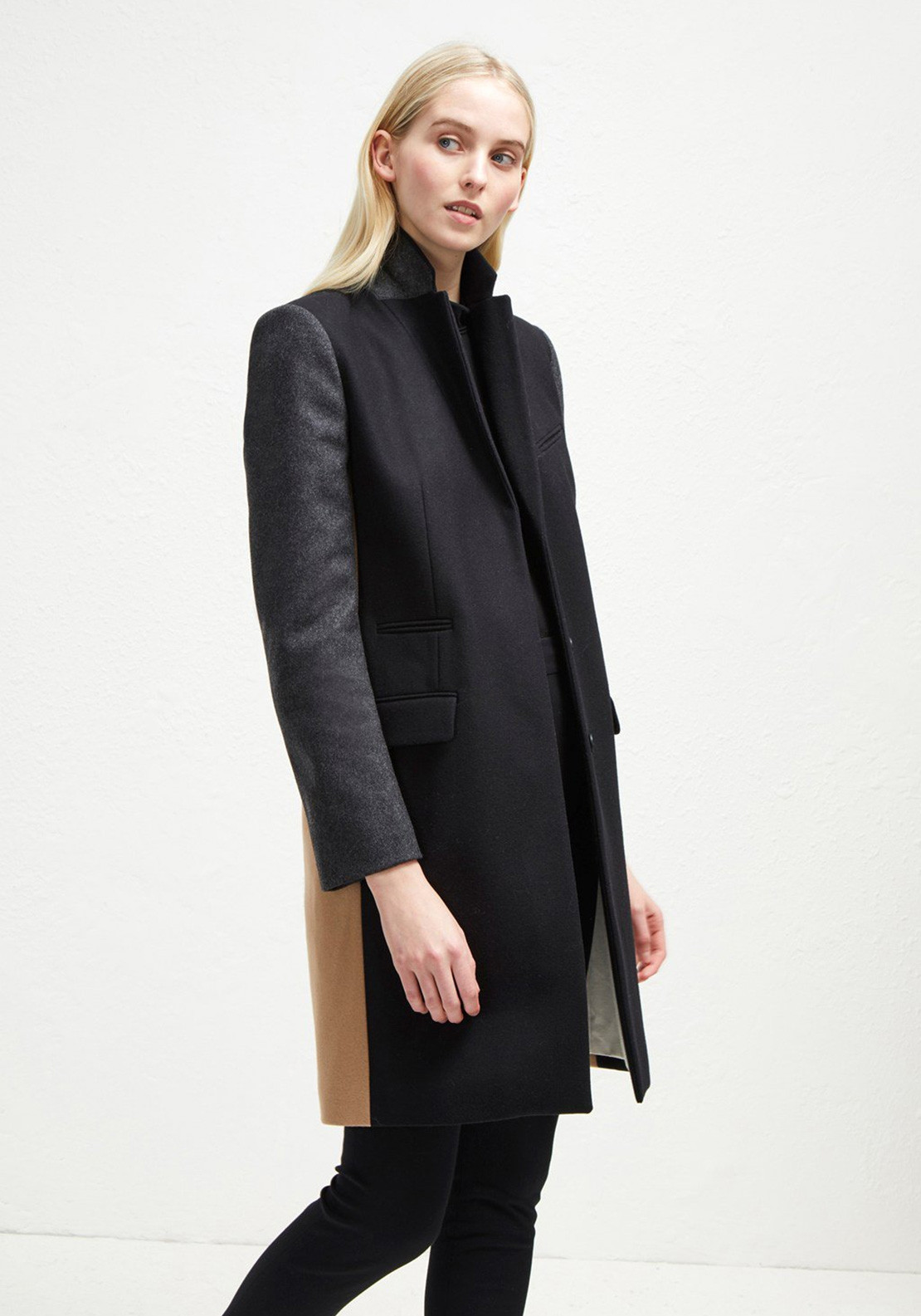 094a46539fe French Connection Colour Block Wool Coat, Black | McElhinneys