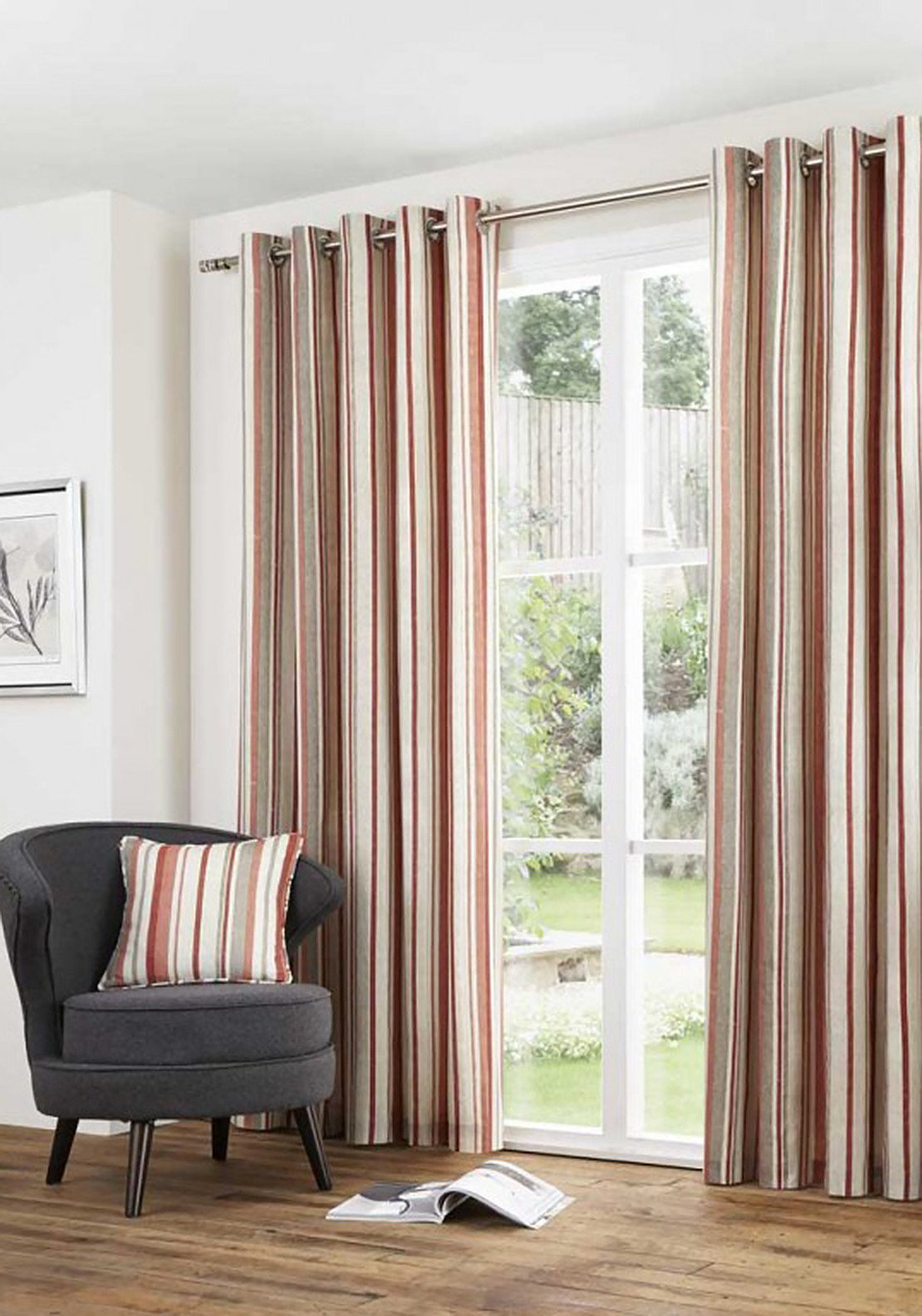 Fusion Home Furnishing Melrose Striped Fully Lined Eyelet Curtains, Spice