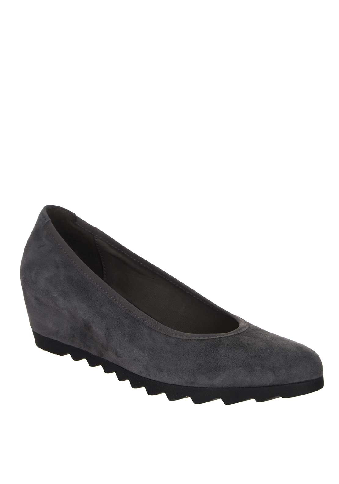 Gabor Request Womens Wedge Court Shoes, Dark Grey Suede