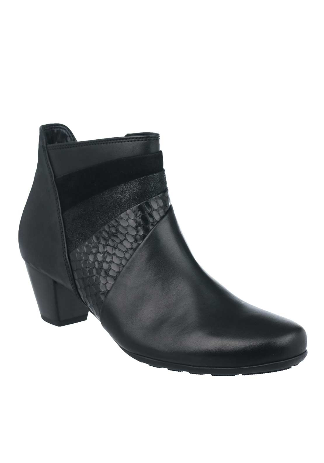 Gabor Leather Multi Panel Heeled Ankle Boots, Black