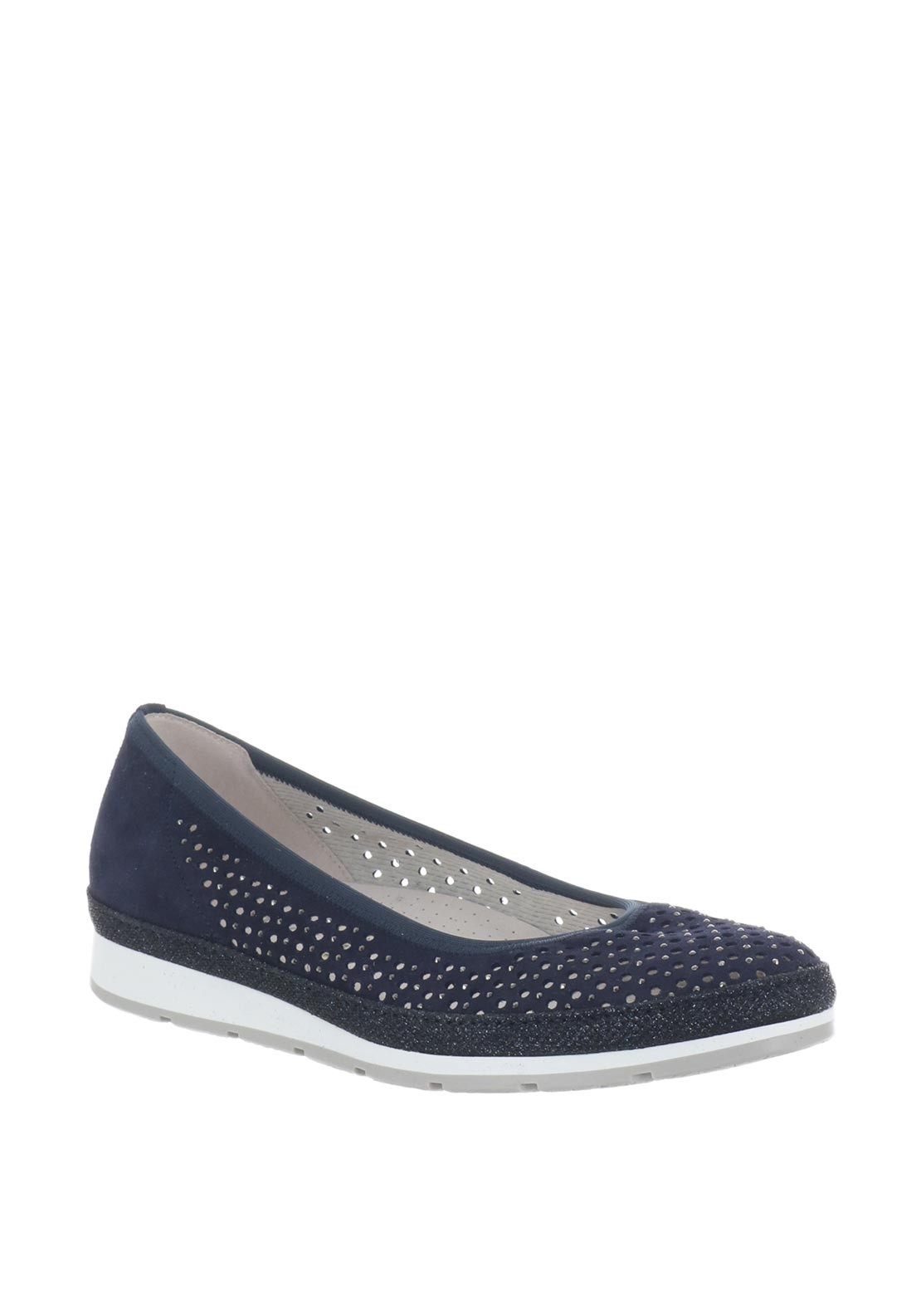 Gabor Perforated Gem Pumps, Navy