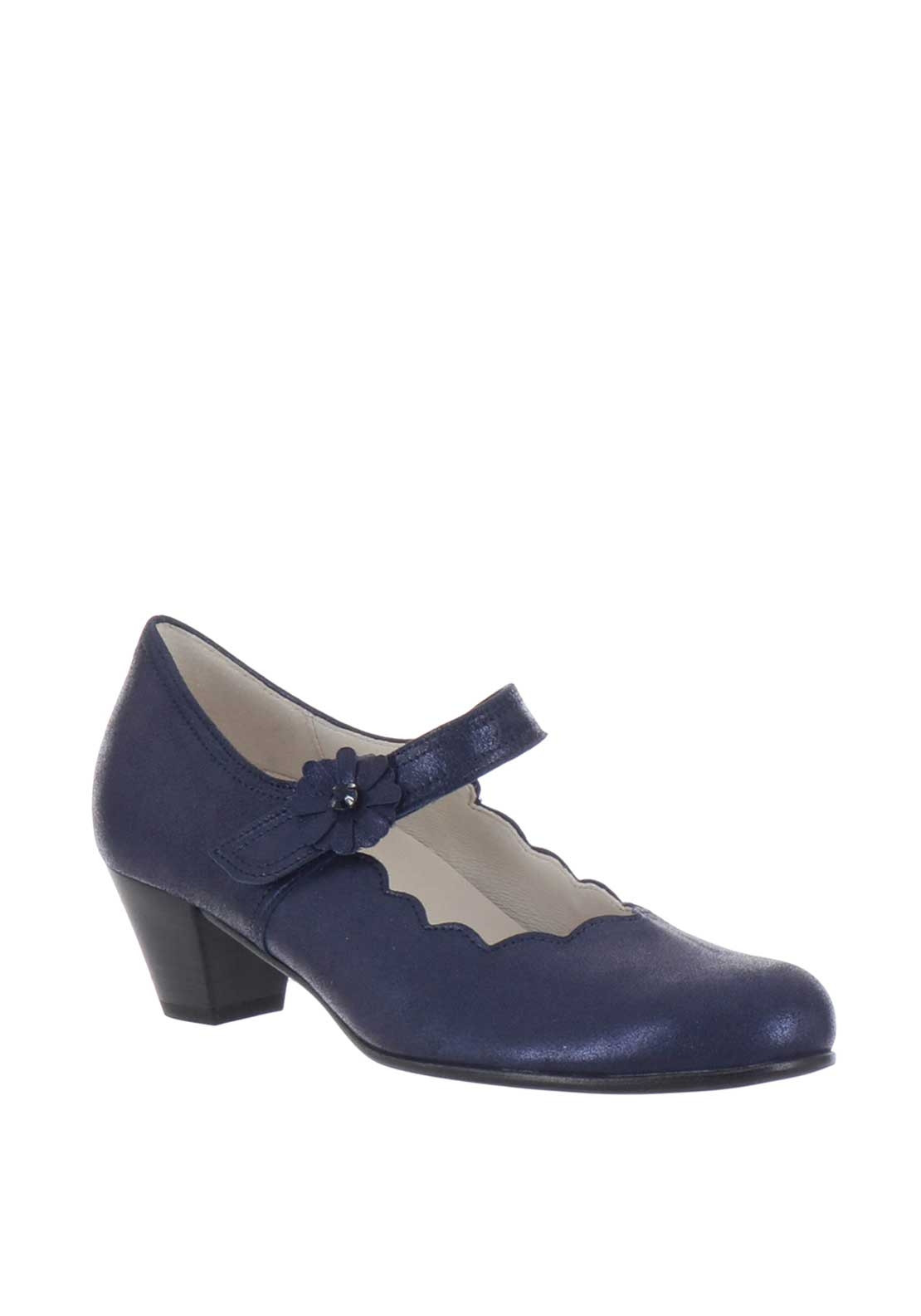 Gabor Leather Scalloped Velcro Heeled Comfort Shoes, Navy