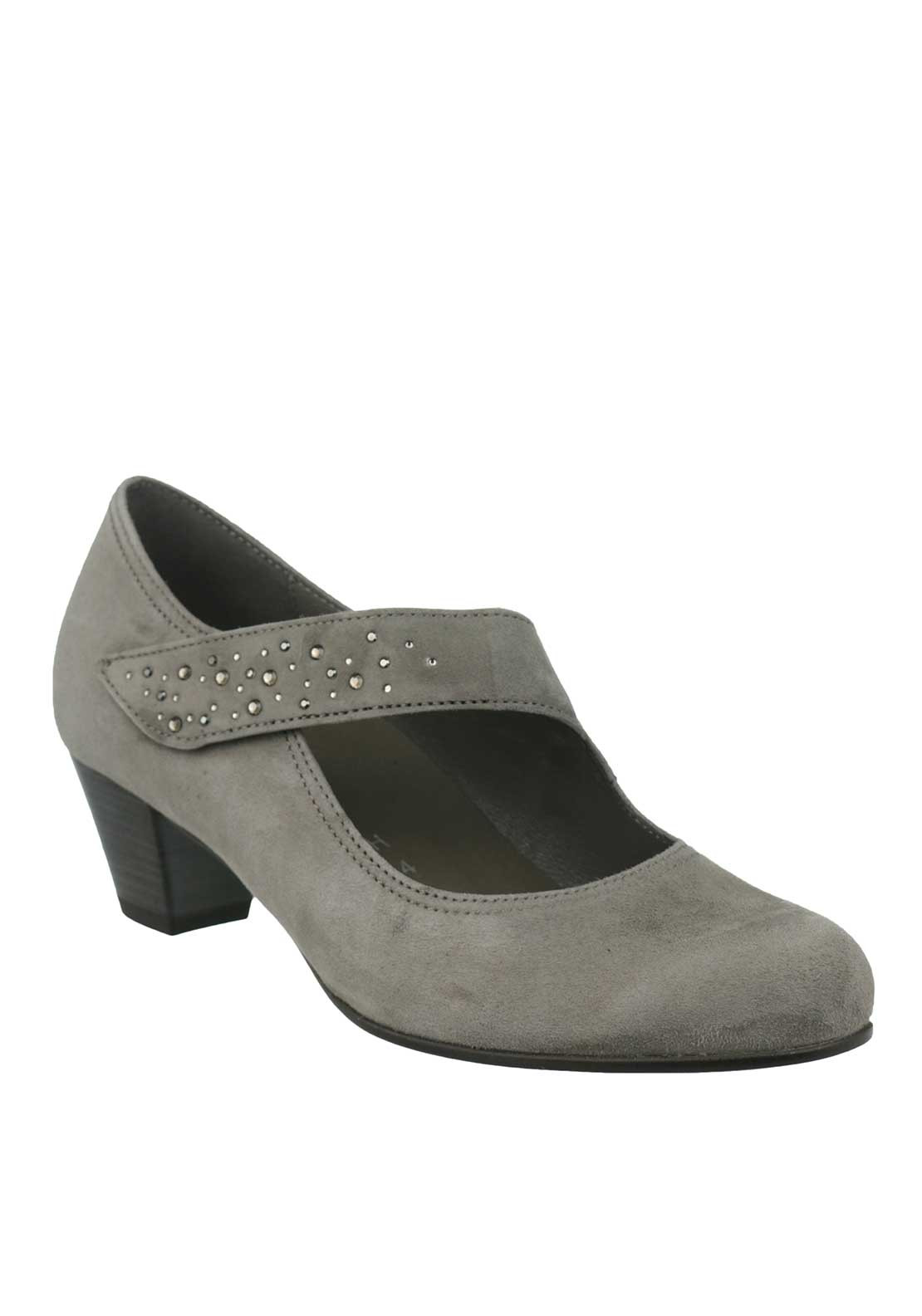 Gabor Suede Gem Velcro Strap Heeled Shoes, Grey