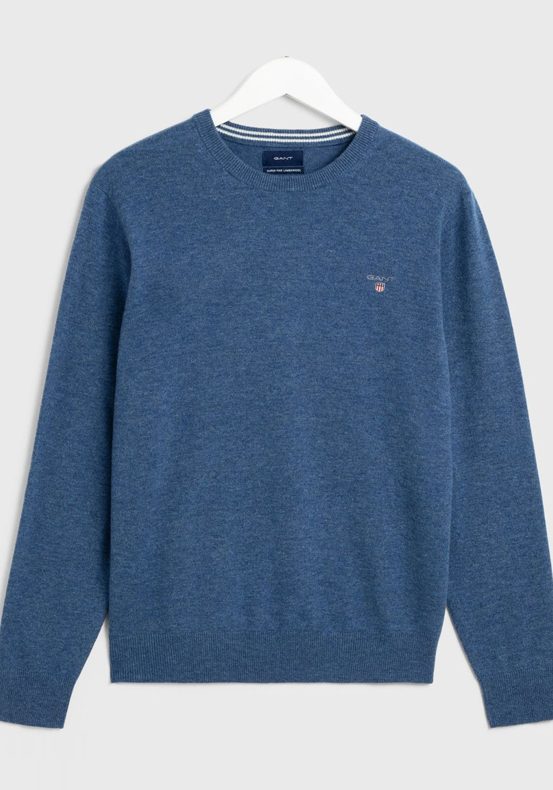 select for clearance select for authentic new appearance Gant Superfine Lambswool Crew Neck Sweater, Stone Blue