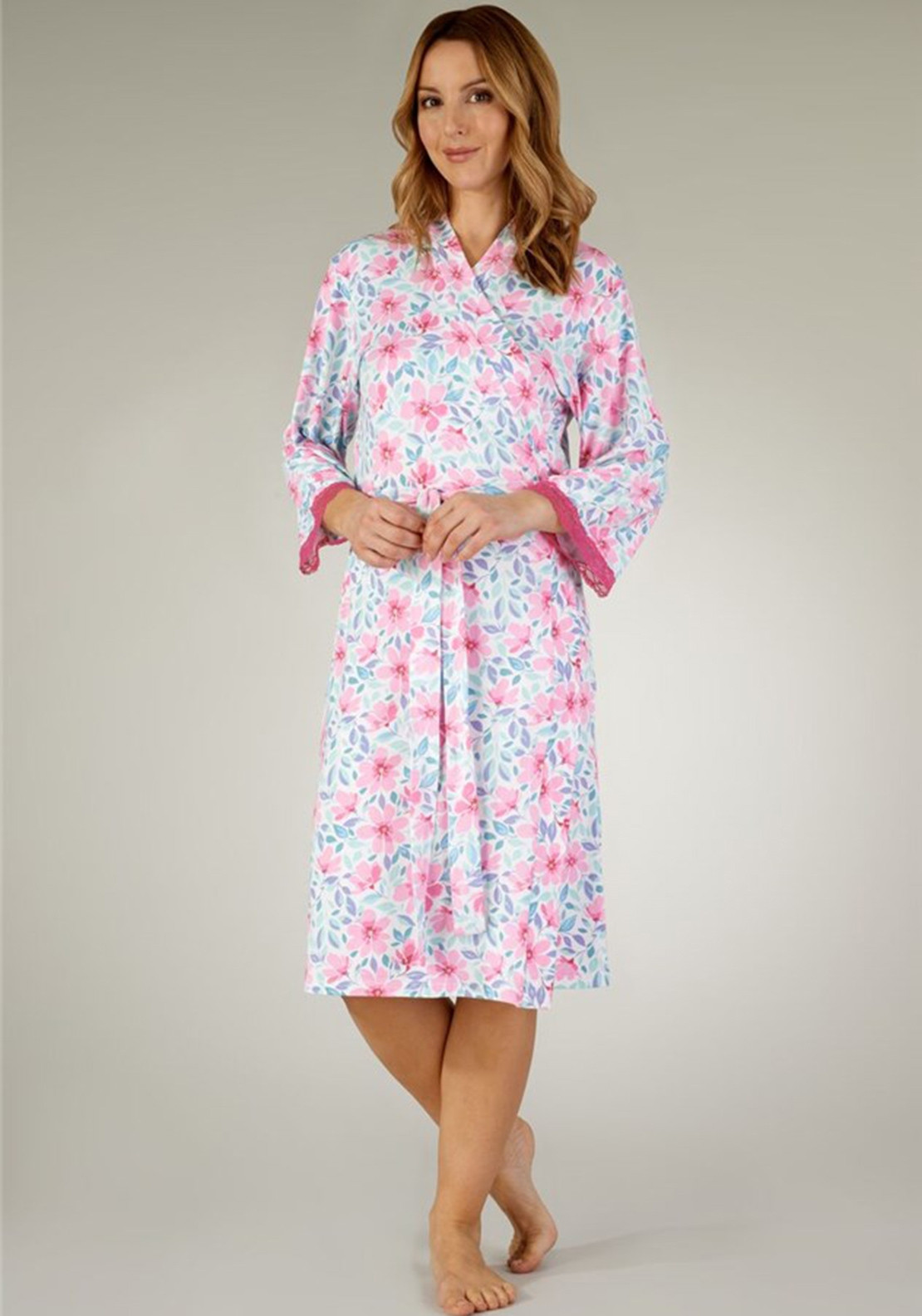 6ed0f21ef91 Gaspe Lace Trim Floral Dressing Gown