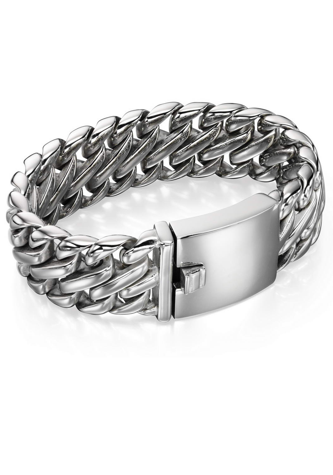 Fred Bennett Chunky Tri-Link Bracelet for Men, Silver