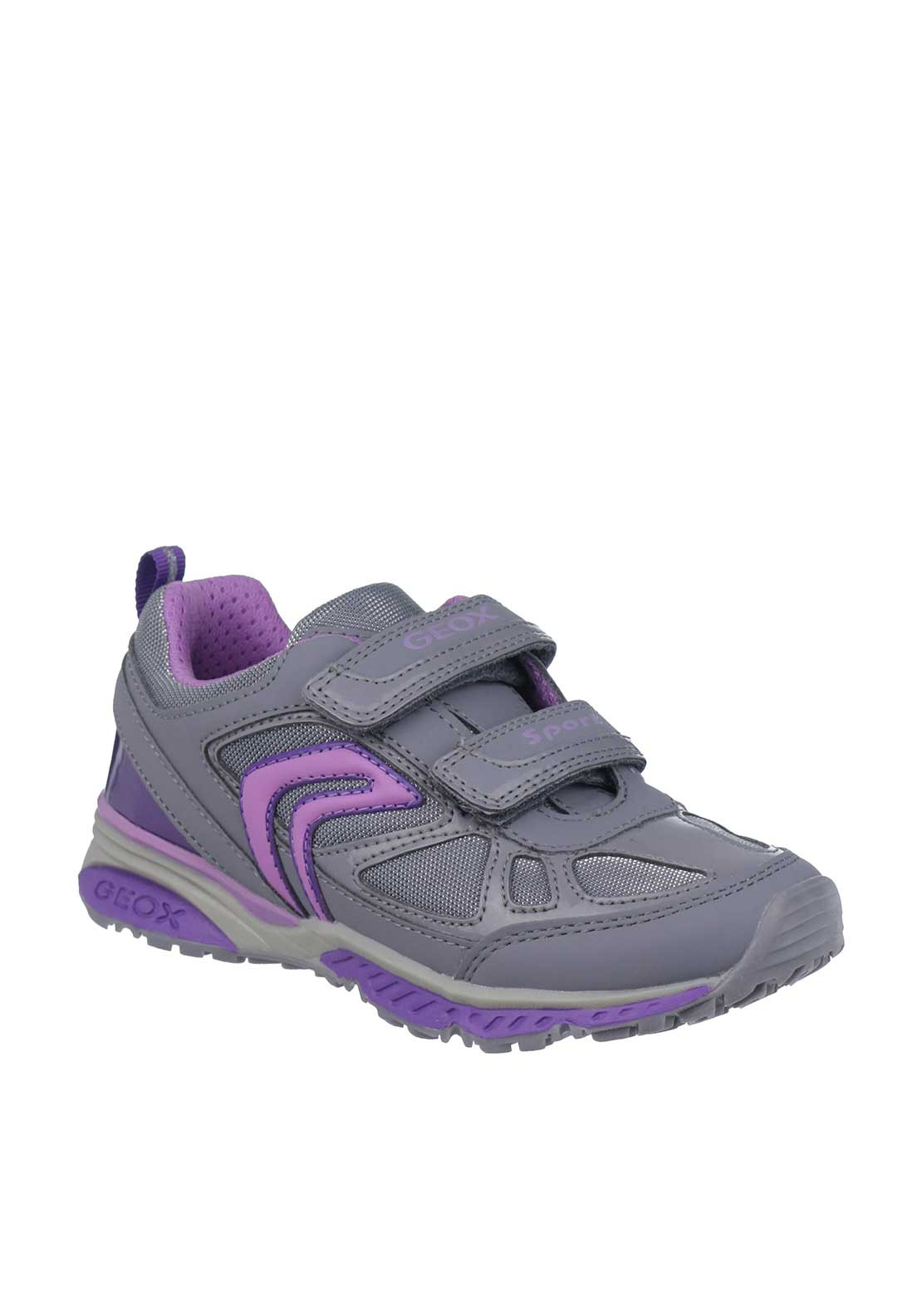 Geox Girls Bernie Velcro Strap Trainers, Grey