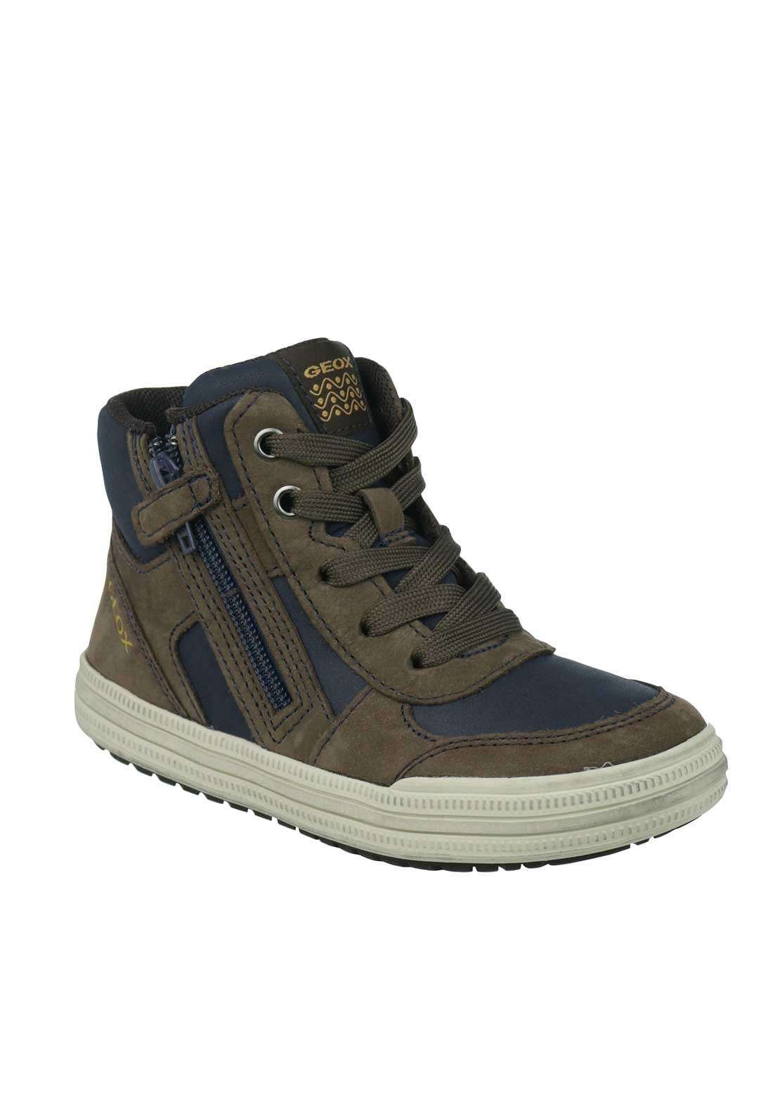 Geox Boys Respira Leather Hi Top Trainers, Brown