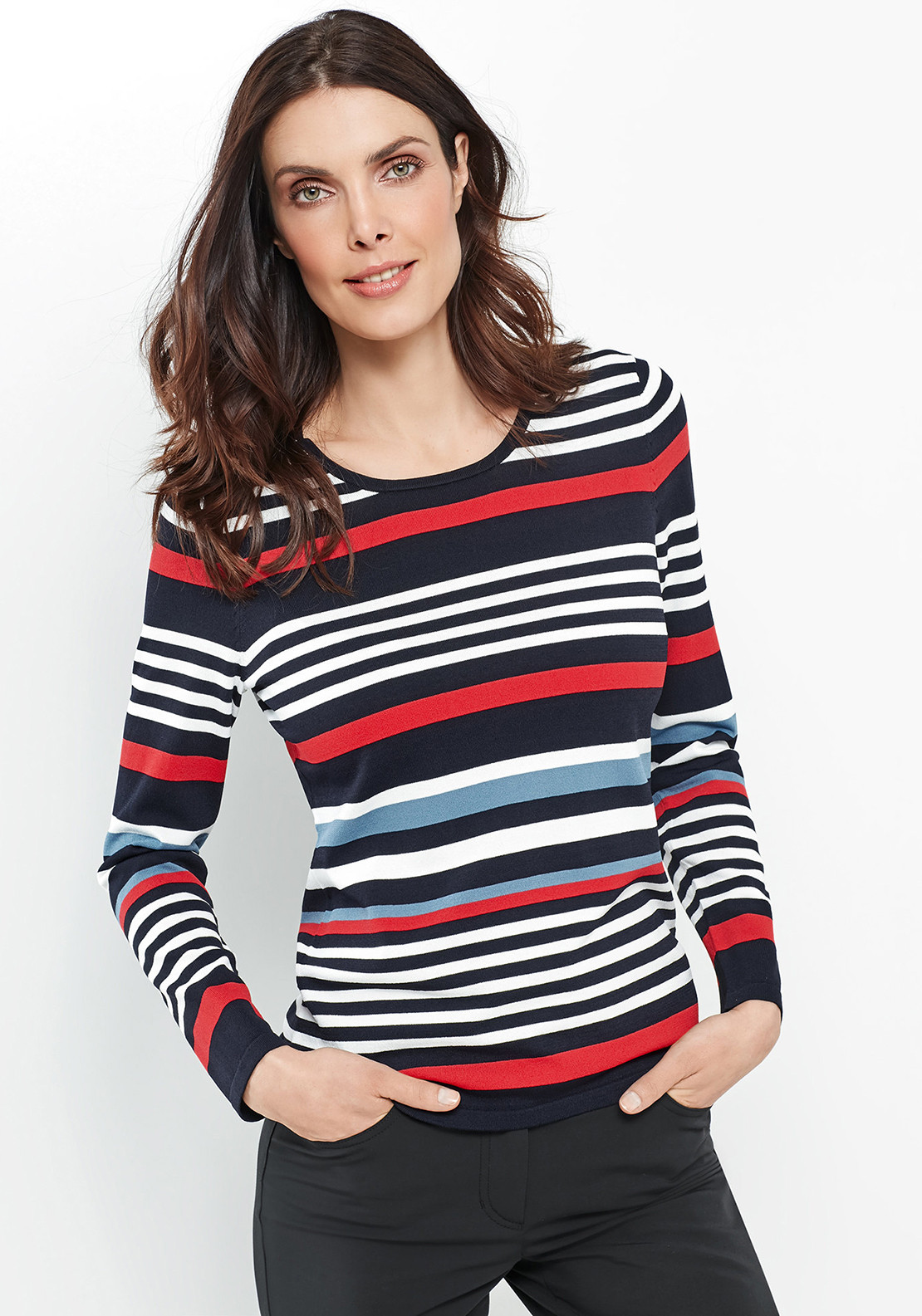 Gerry Weber Striped Fine Knit Jumper, Navy Multi