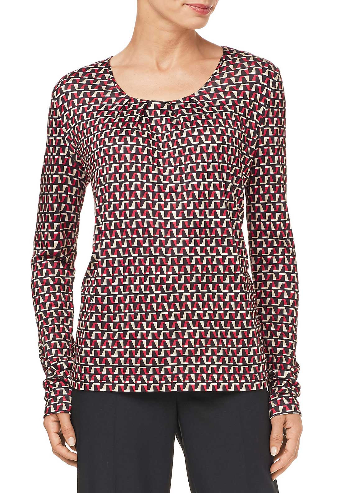 Gerry Weber Geometric Print Top, Red Multi