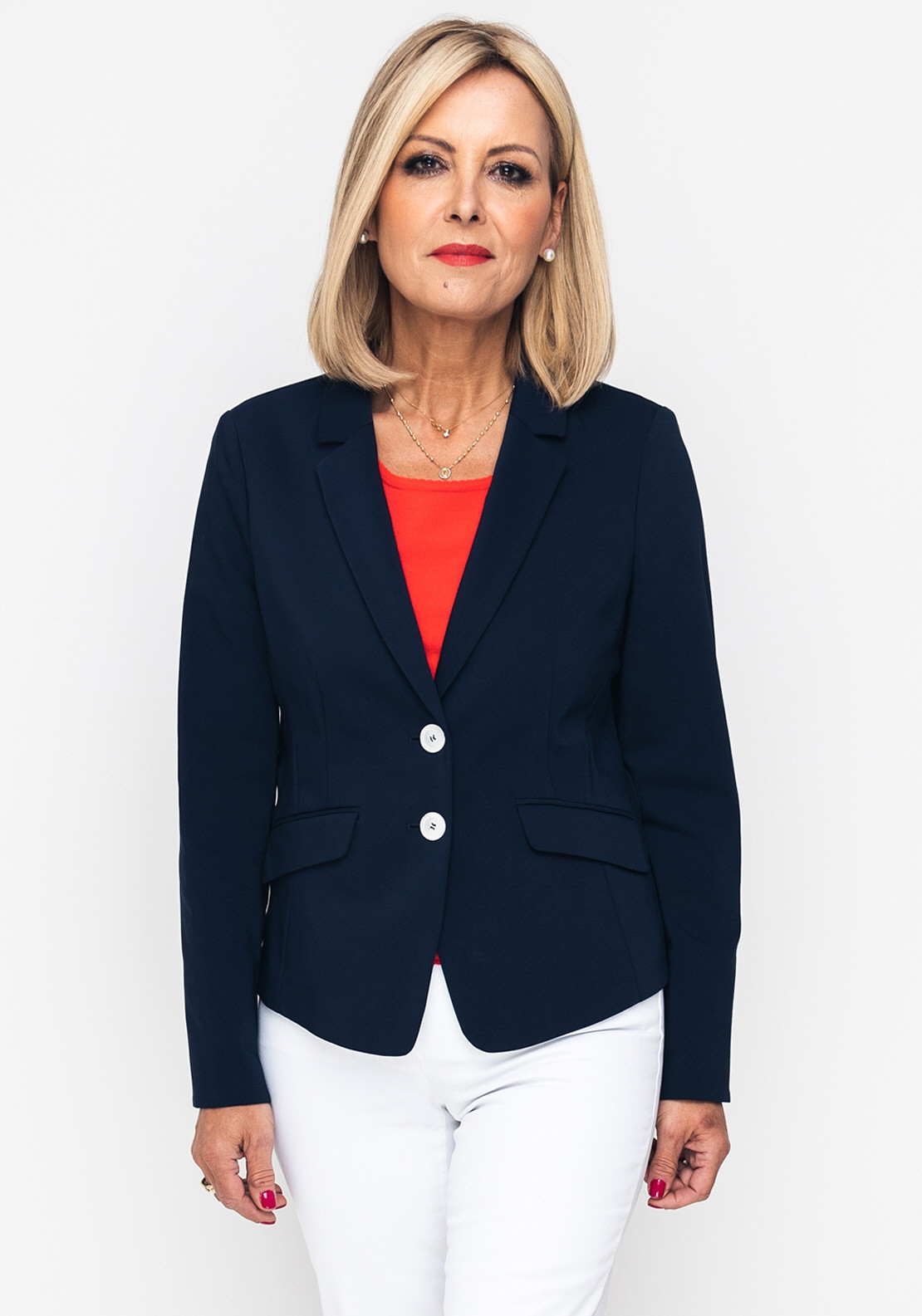 Gerry Weber Cotton Blend Blazer Jacket, Navy