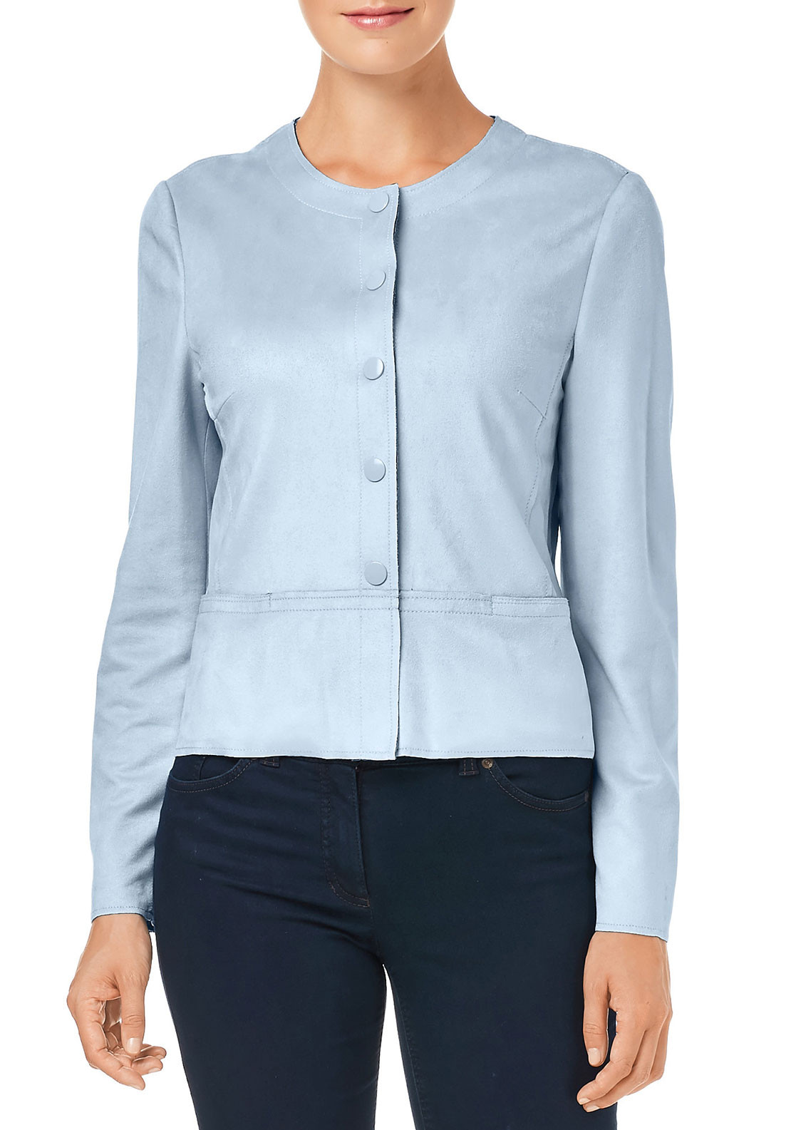 Gerry Weber Faux Suede Jacket, Pale Blue