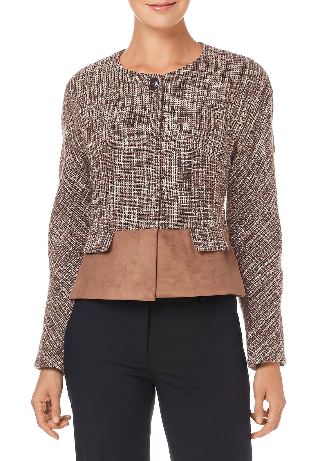 Gerry Weber Suede Trim Tweed Jacket, Brown