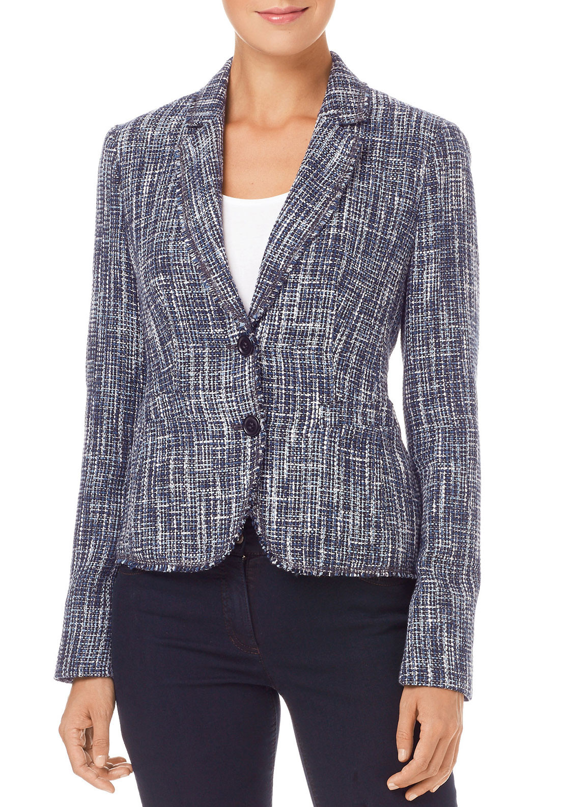 Gerry Weber Boucle Tweed Jacket, Navy