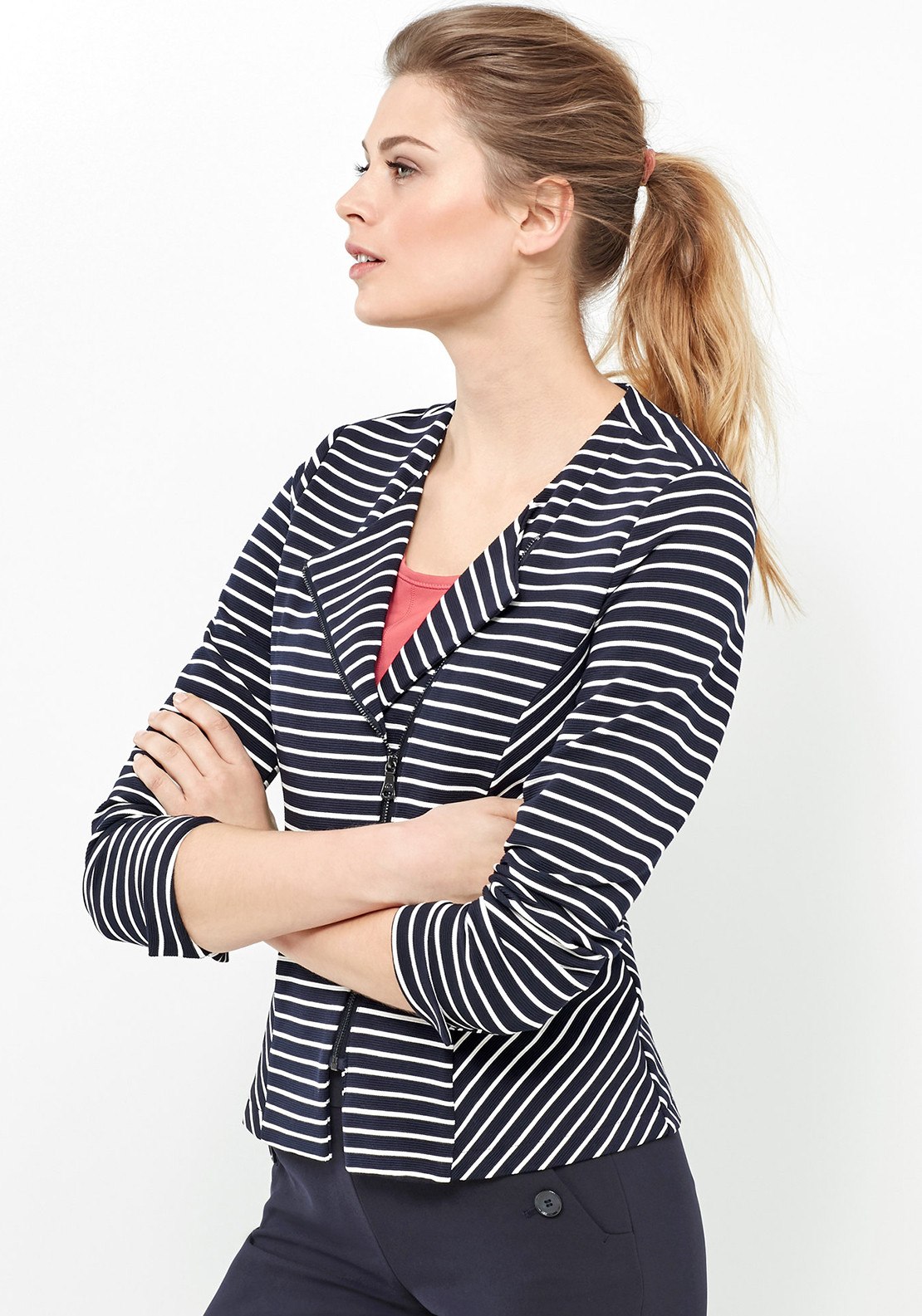 Gerry Weber Striped Ribbed Blazer, Navy & White