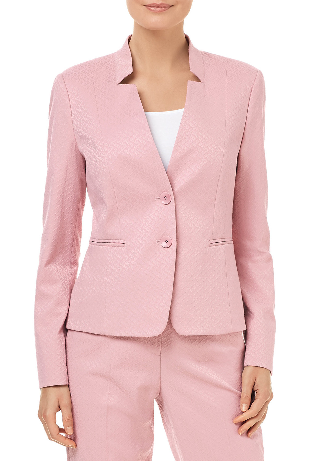 Gerry Weber Embossed Diamond Print Blazer Jacket, Pink
