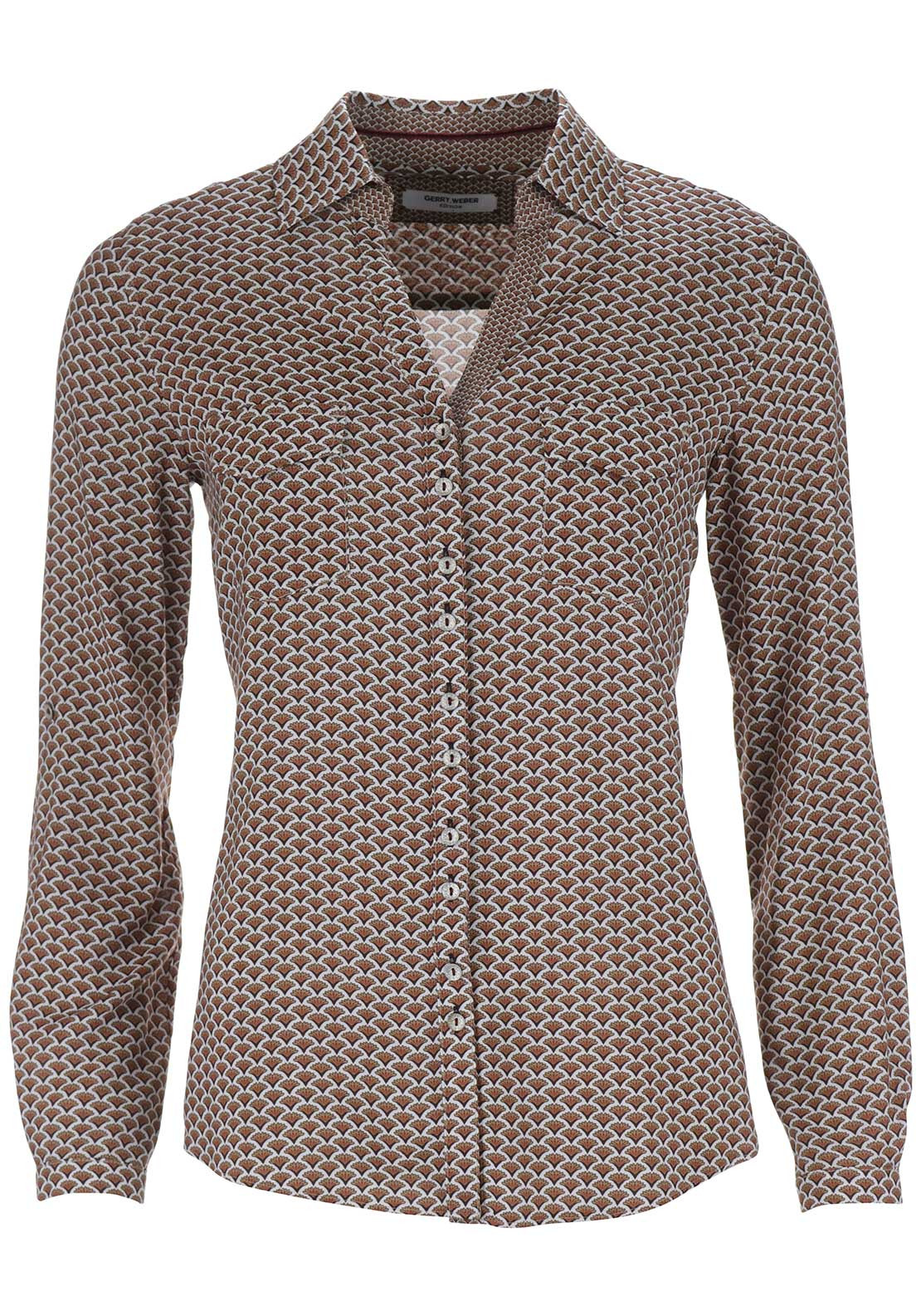 Gerry Weber Printed Long Sleeve Blouse, Rust