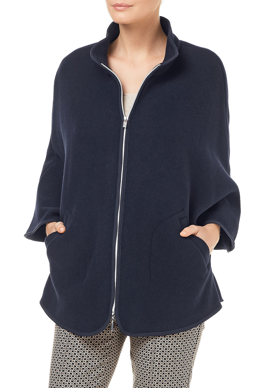 Gerry Weber Wool Rich Swing Coat, Navy