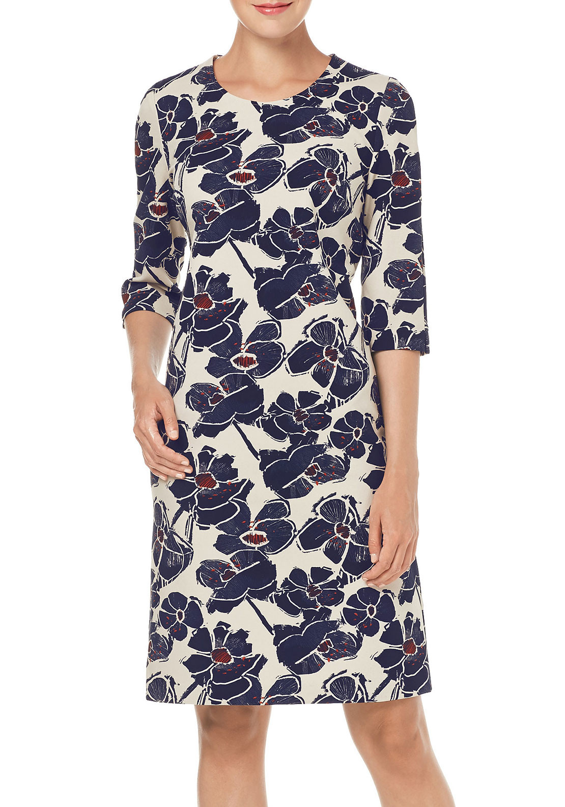 Gerry Weber Floral Print Pencil Dress, Navy Multi