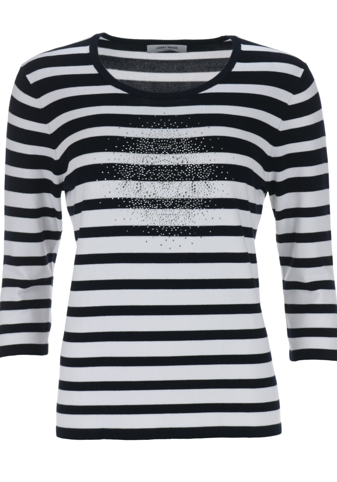Gerry Weber Striped Knitwear Jumper with Studded Detail, Black and White