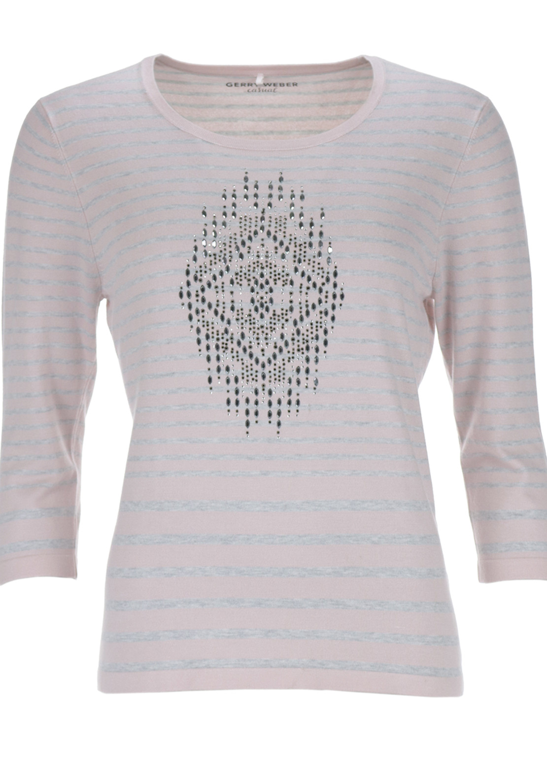 Gerry Weber Relaxed Fit Striped and Studded Detail Knitwear Jumper, Pink and Grey