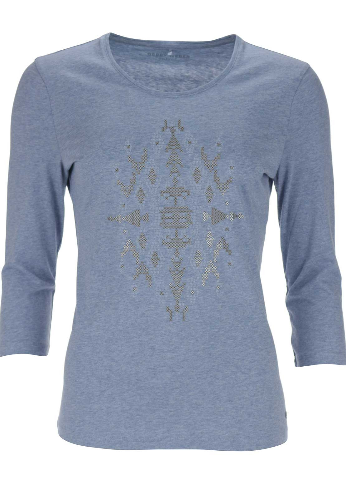Gerry Weber Cotton Top with Aztec Detail, Blue