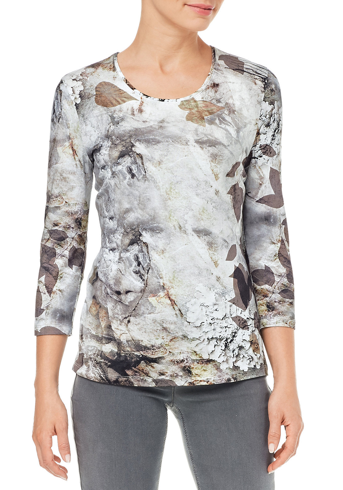 Gerry Weber Abstract Leaf Print Cropped Sleeve Top, Blue Multi