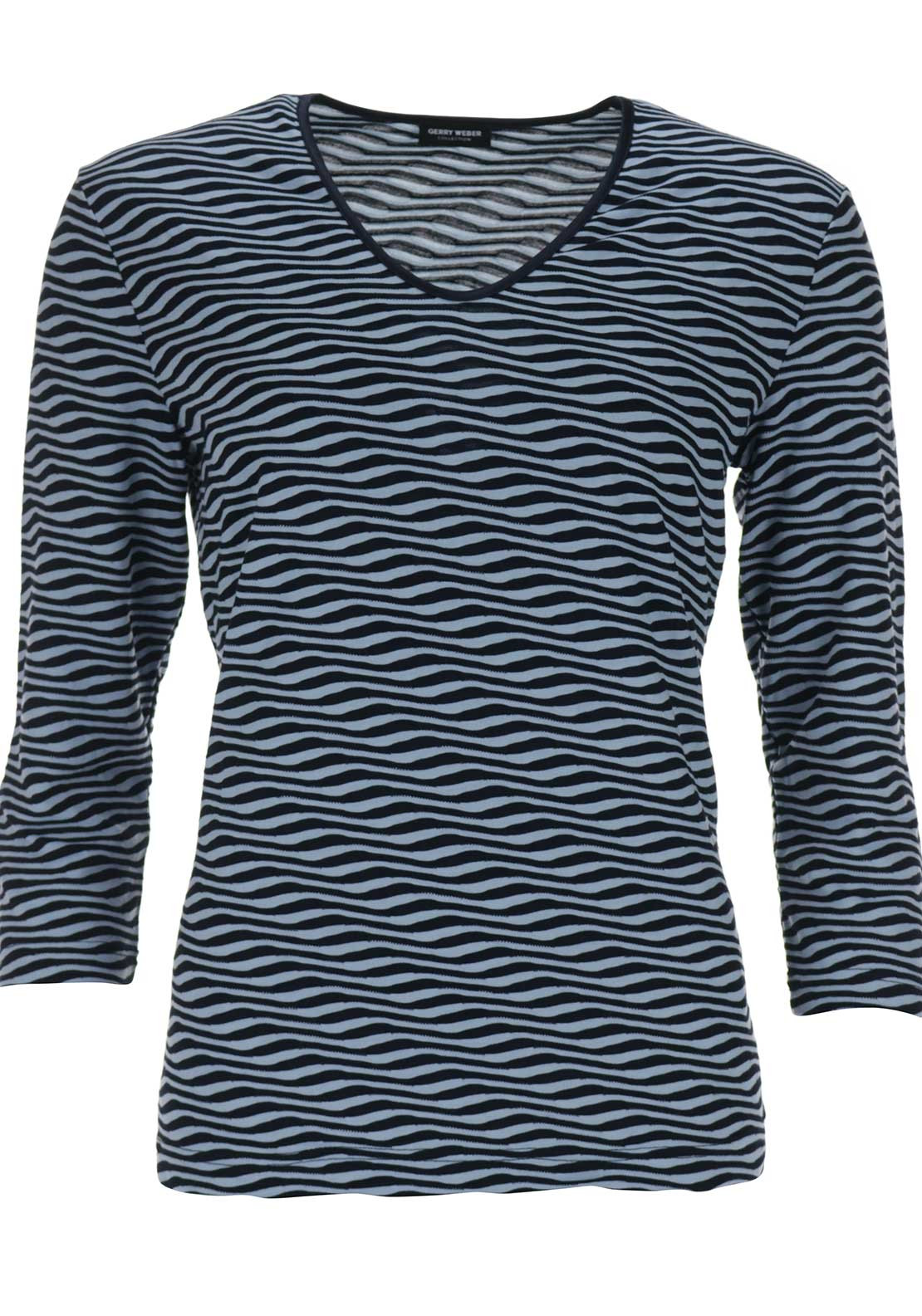 Gerry Weber V Necked Zebra printed Top, Navy & Blue