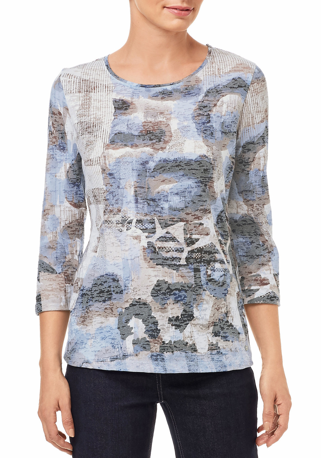 Gerry Weber Camouflage Print Cropped Sleeve Top, Multi-Coloured