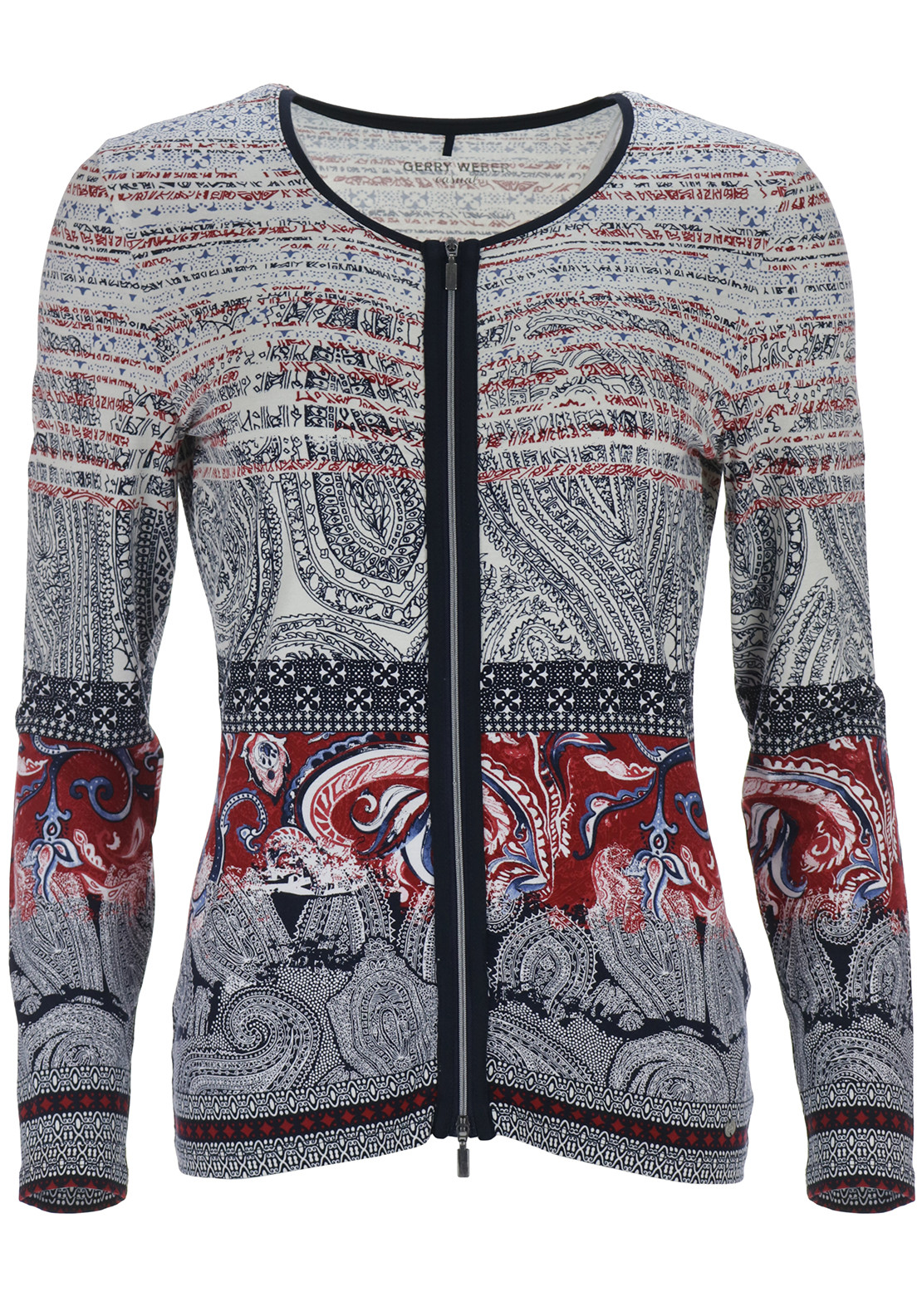 Gerry Weber Paisley Print Zip Cardigan, Multi-Coloured