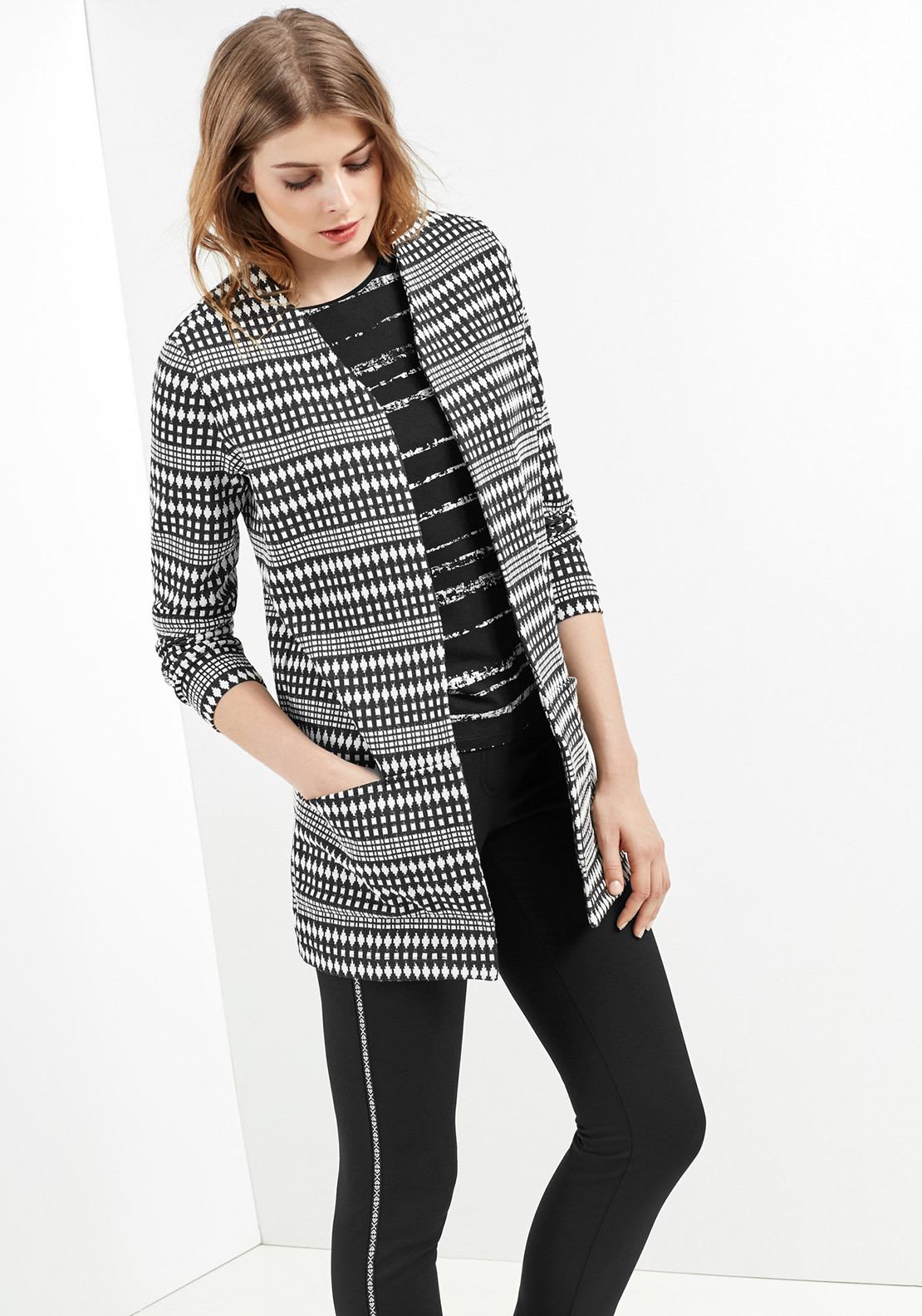 Gerry Weber Ethnic Print Coat, Black & White