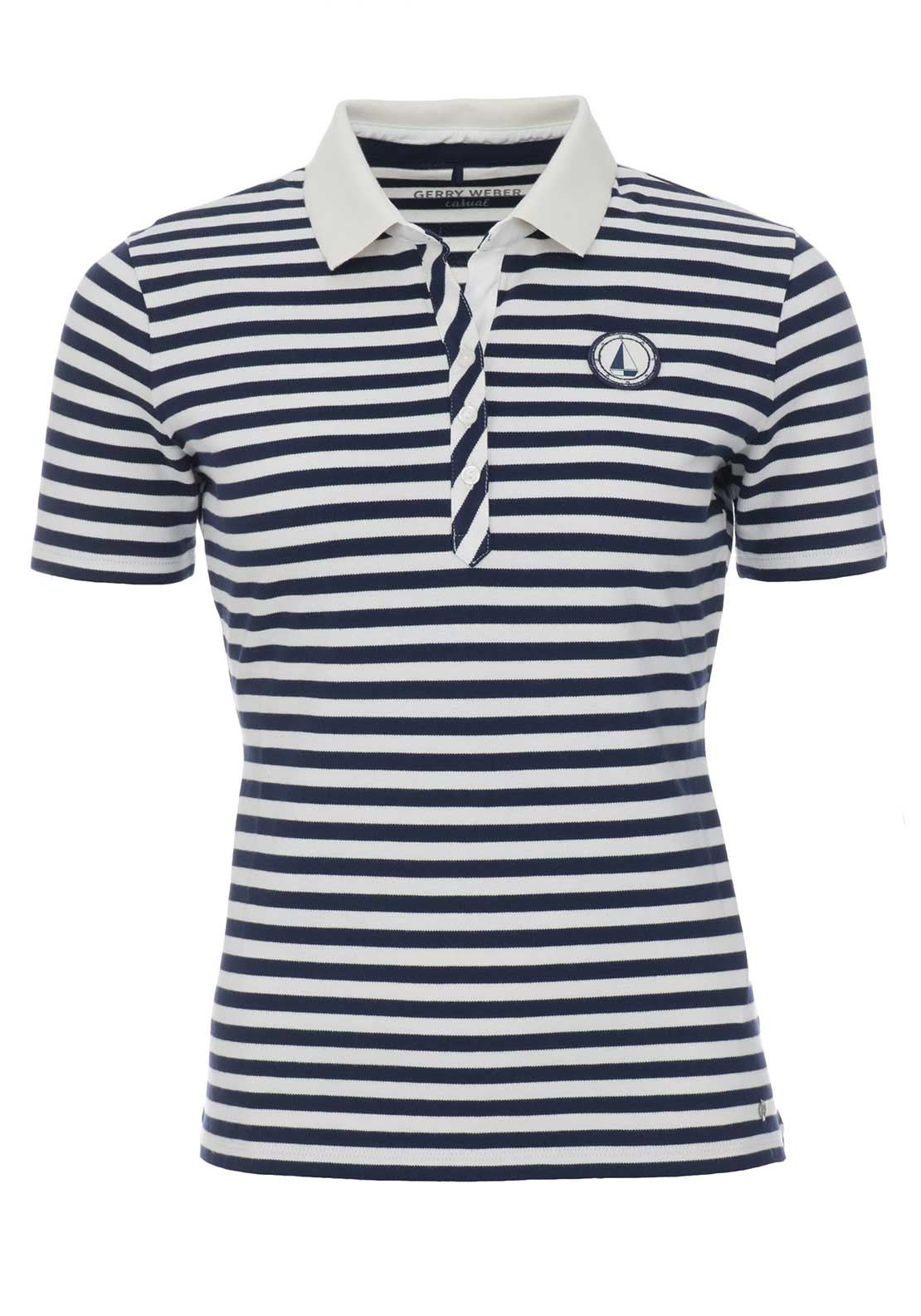 Gerry Weber Striped Polo Shirt, Navy & White