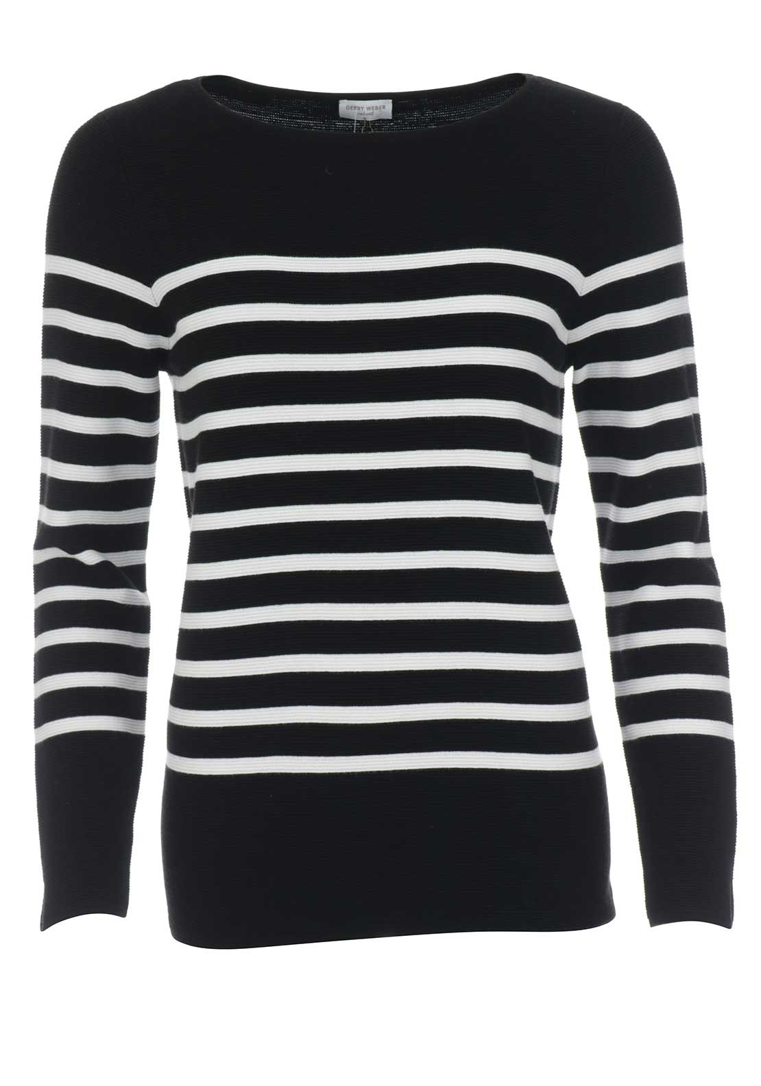 Gerry Weber Striped Rib Knit Jumper, Black & White