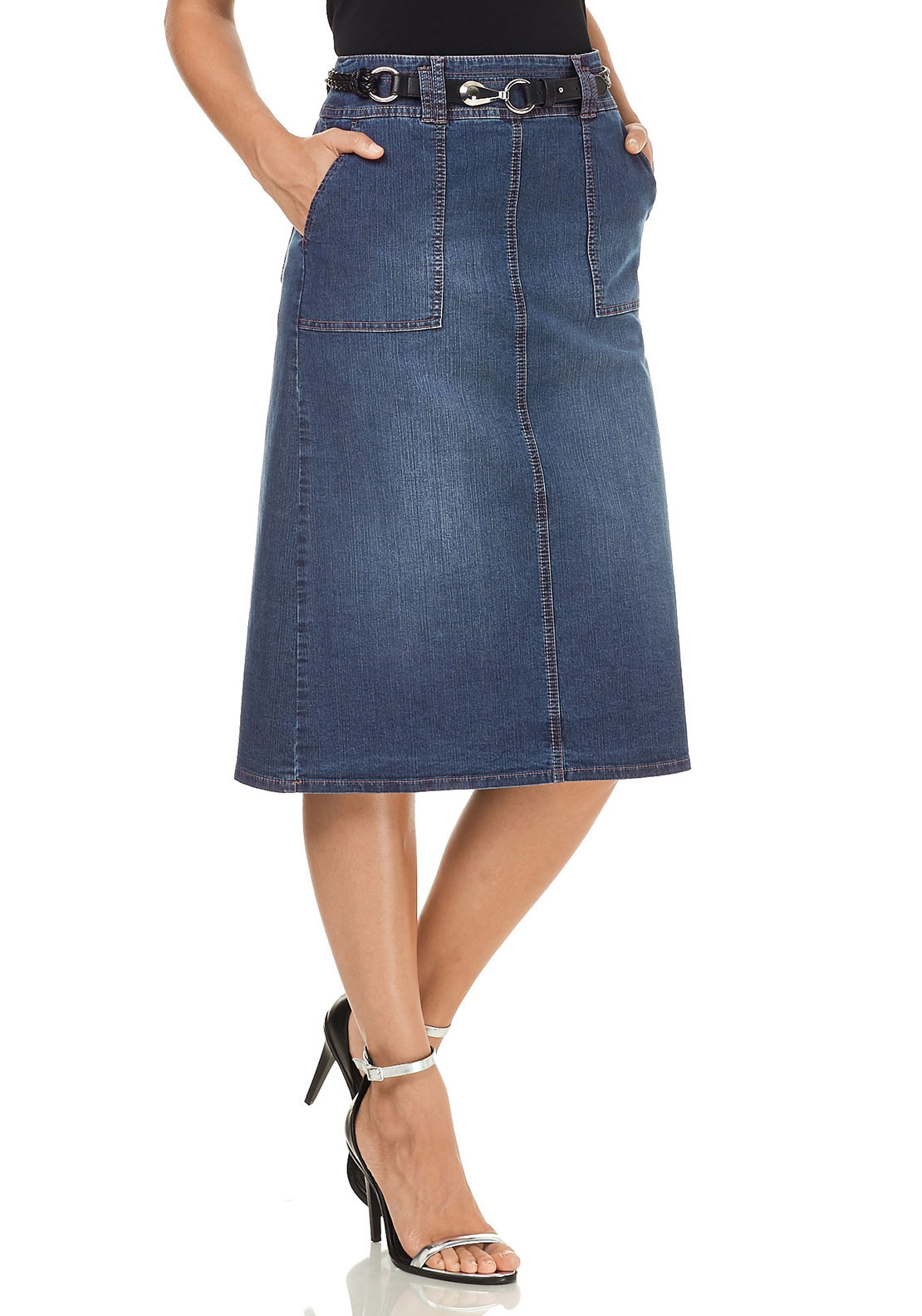 Gerry Weber Denim Midi Skirt, Blue