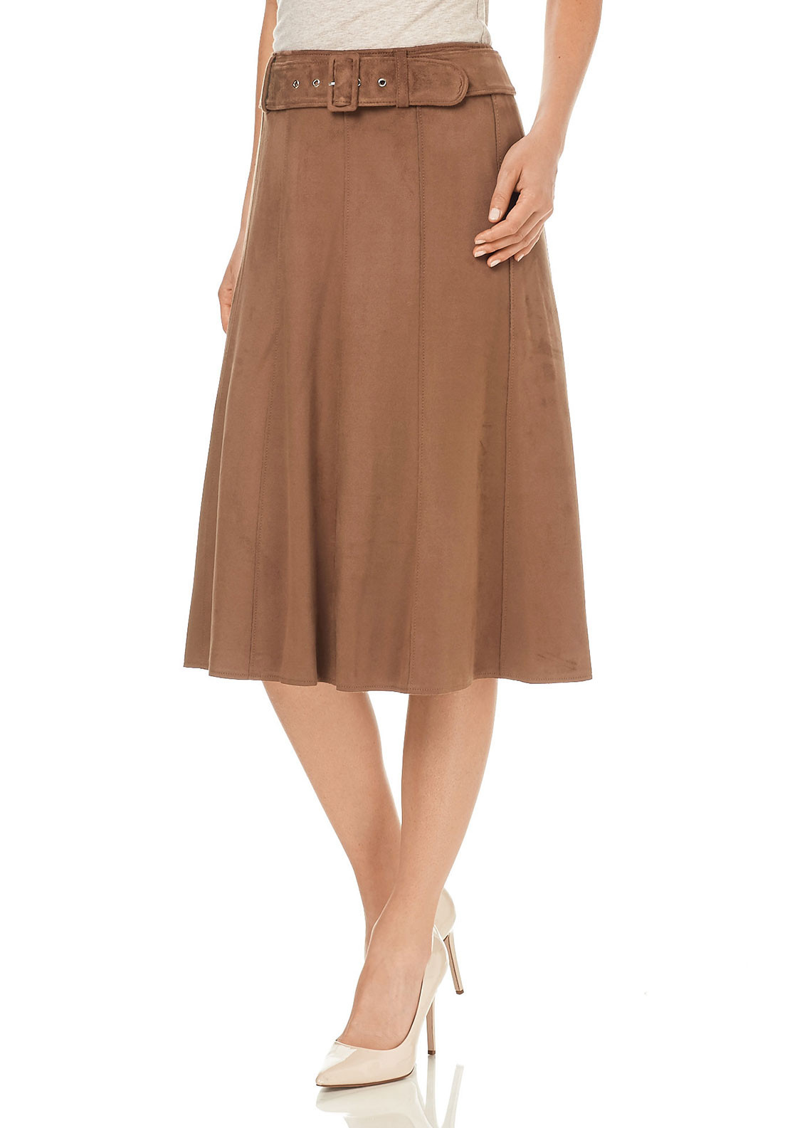 Gerry Weber Faux Suede Midi Skirt, Brown