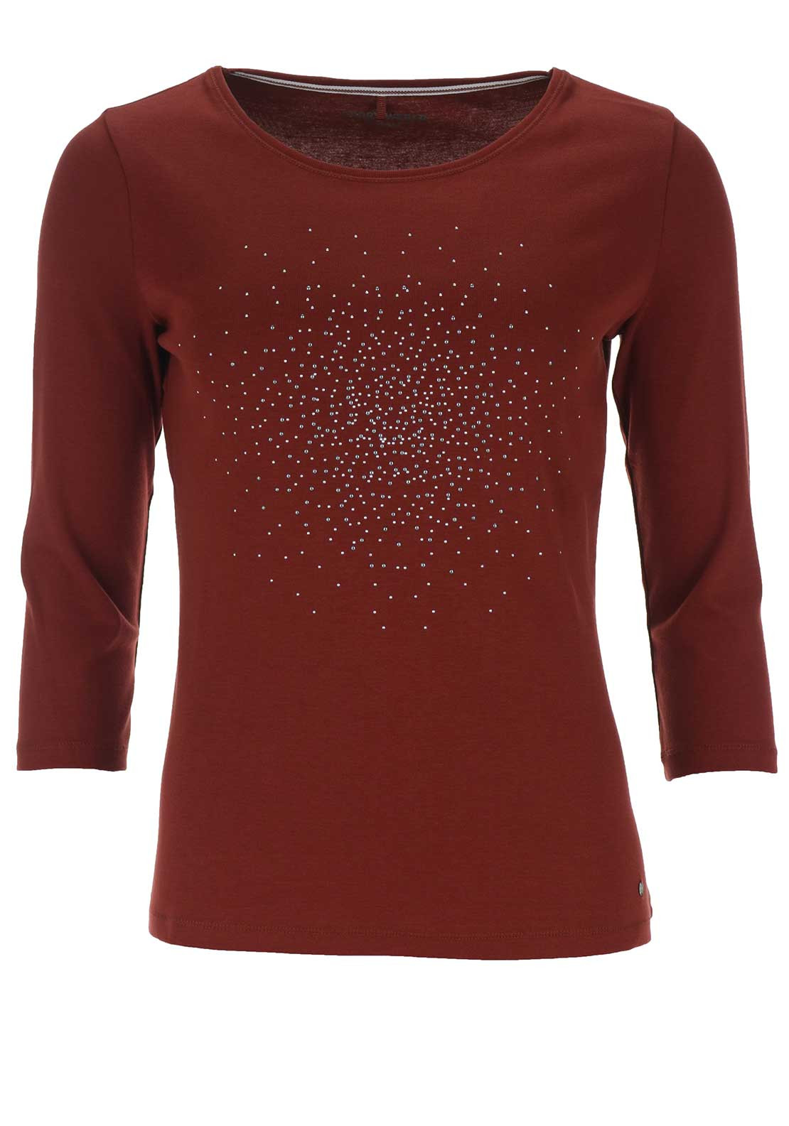 Gerry Weber Embellished Cropped Sleeve Top, Rust