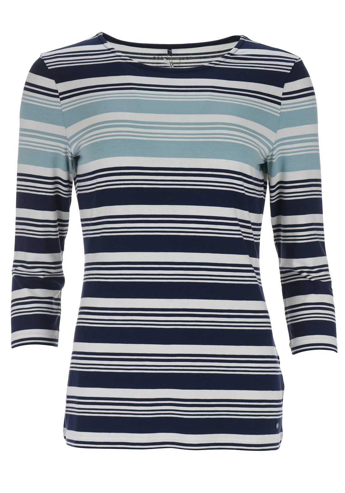 Gerry Weber Striped Cropped Sleeve Top, Navy