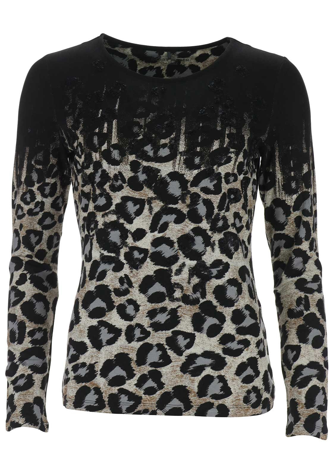 Gerry Weber Embellished Printed Top, Black Multi