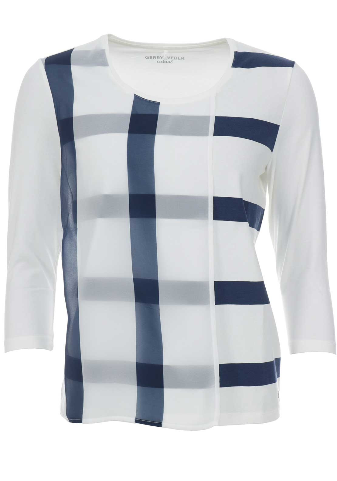 Gerry Weber Chiffon Overlay Top, White & Navy
