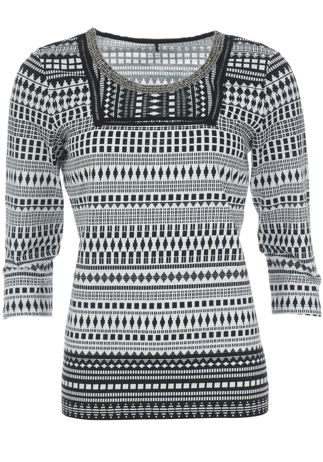 Gerry Weber Embellished Ethnic Print Top, Black & White